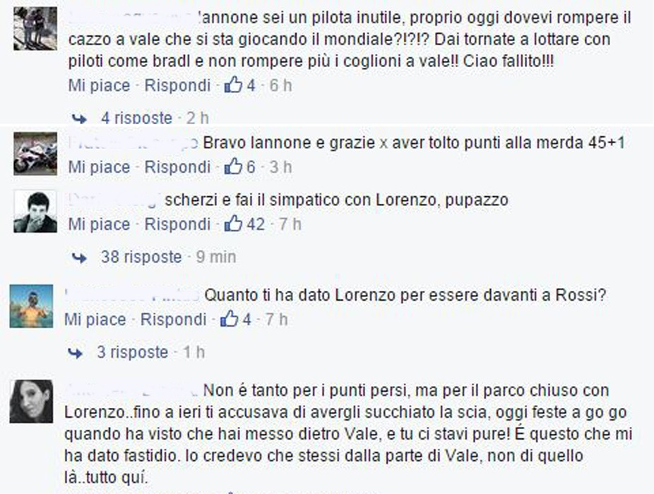 Una rassegna di insulti sulla bacheca di Iannone su Facebook, Eurosport