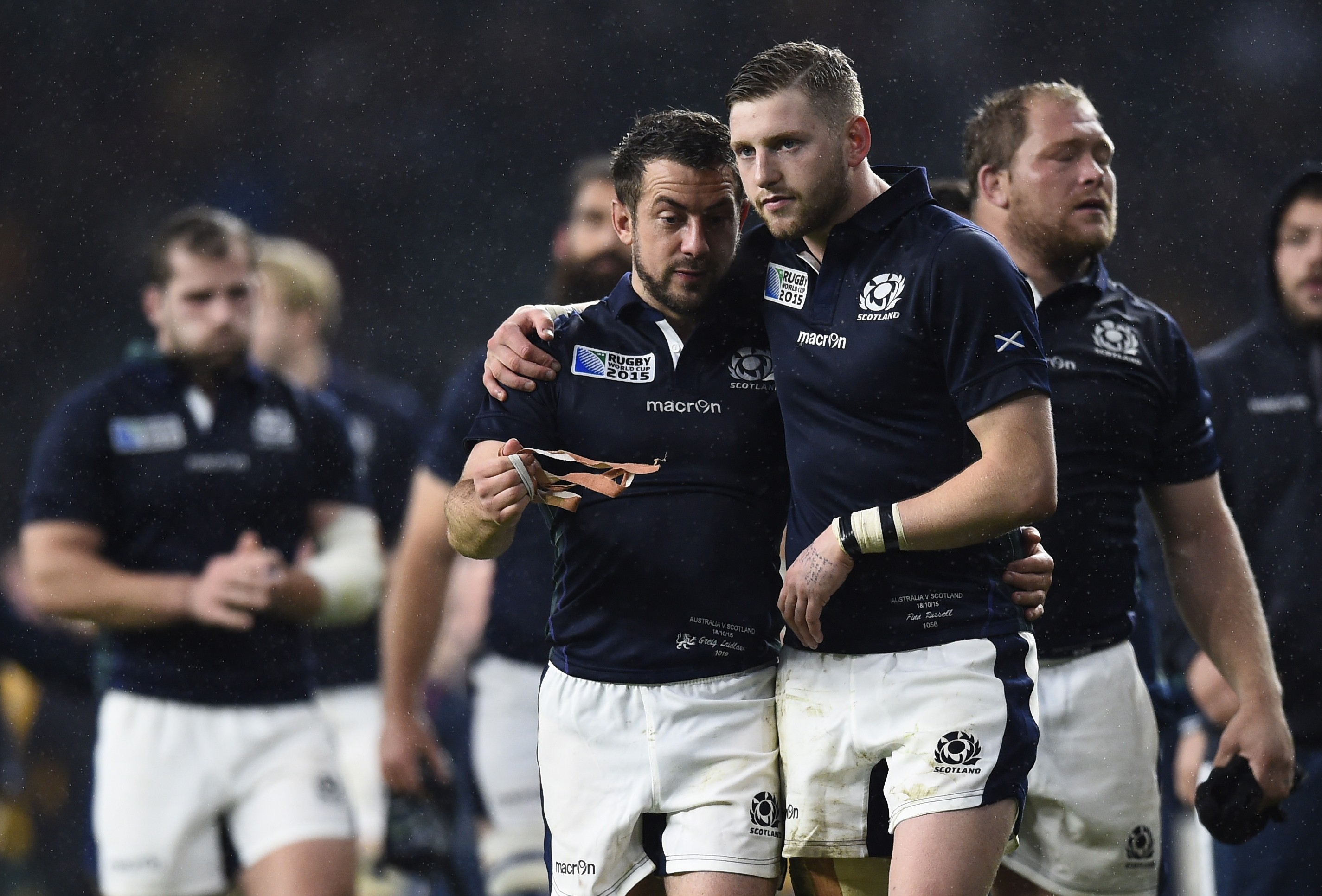 Scotland's Greig Laidlaw and Finn Russell at the end of the game