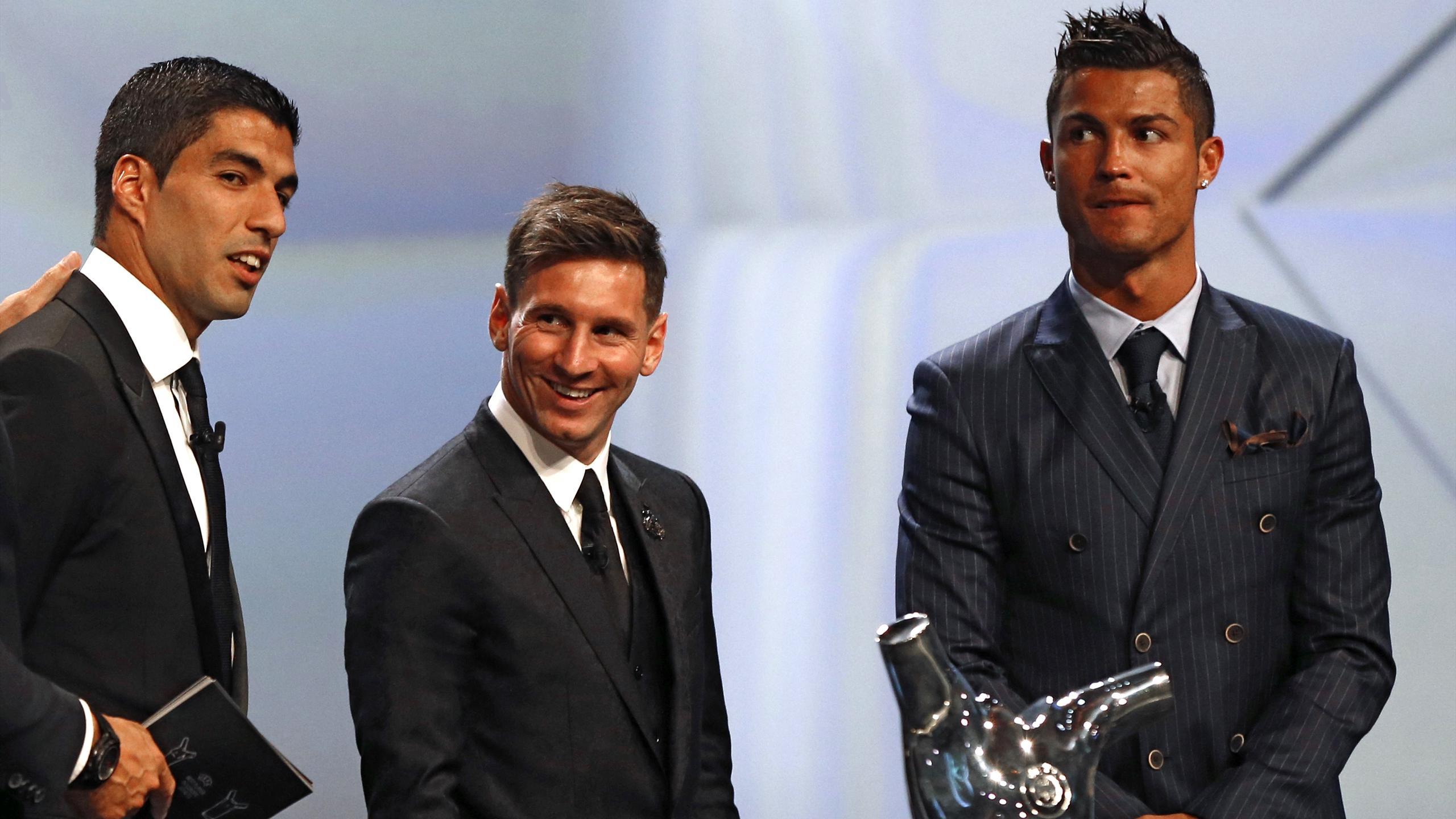 Barcelona's Luis Suarez and Lionel Messi and Real Madrid's Cristiano Ronaldo