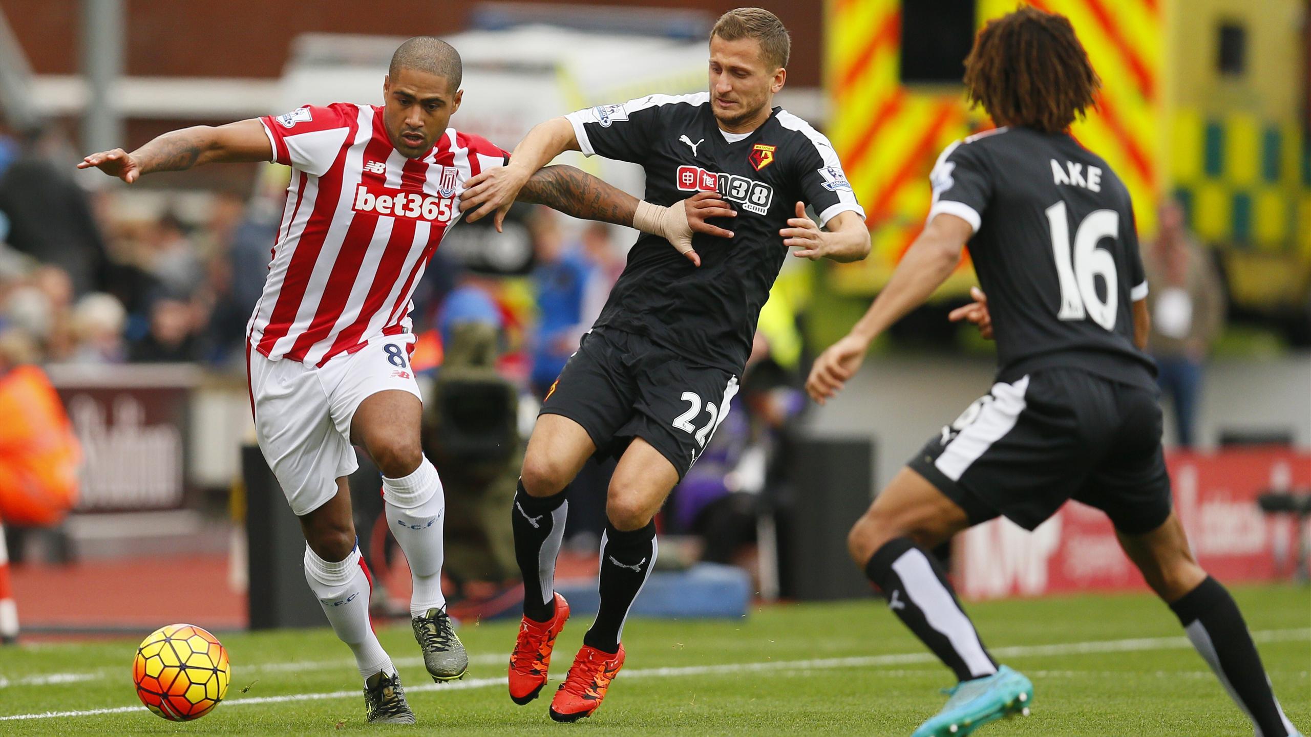 Stoke's Glen Johnson on the ball against Watford