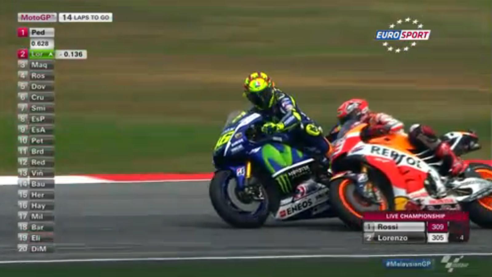 Rossi and Marquez clash (screeshot) - Malaysian GP 2015