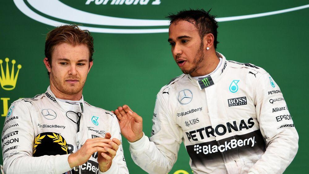 Mercedes team-mates Nico Rosberg and Lewis Hamilton