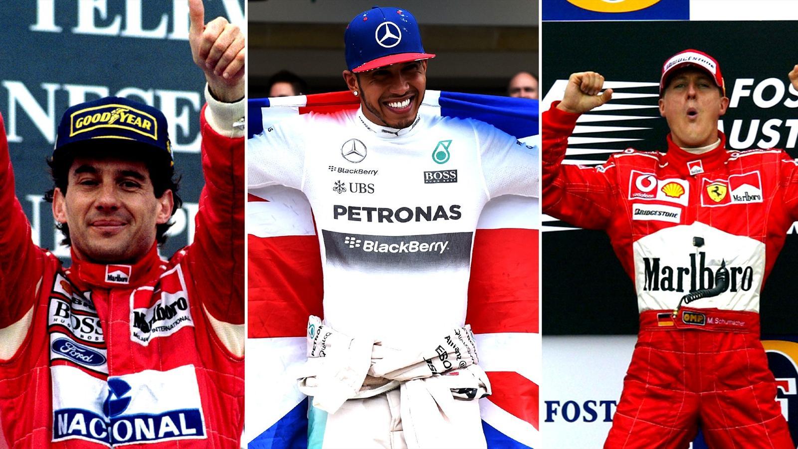 Ayrton Senna, Lewis Hamilton and Michael Schumacher