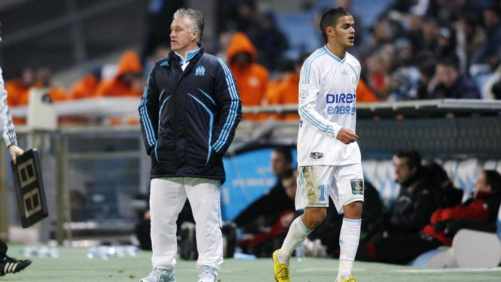 Didier Deschamps et Hatem Ben Arfa sous le maillot de l'OM