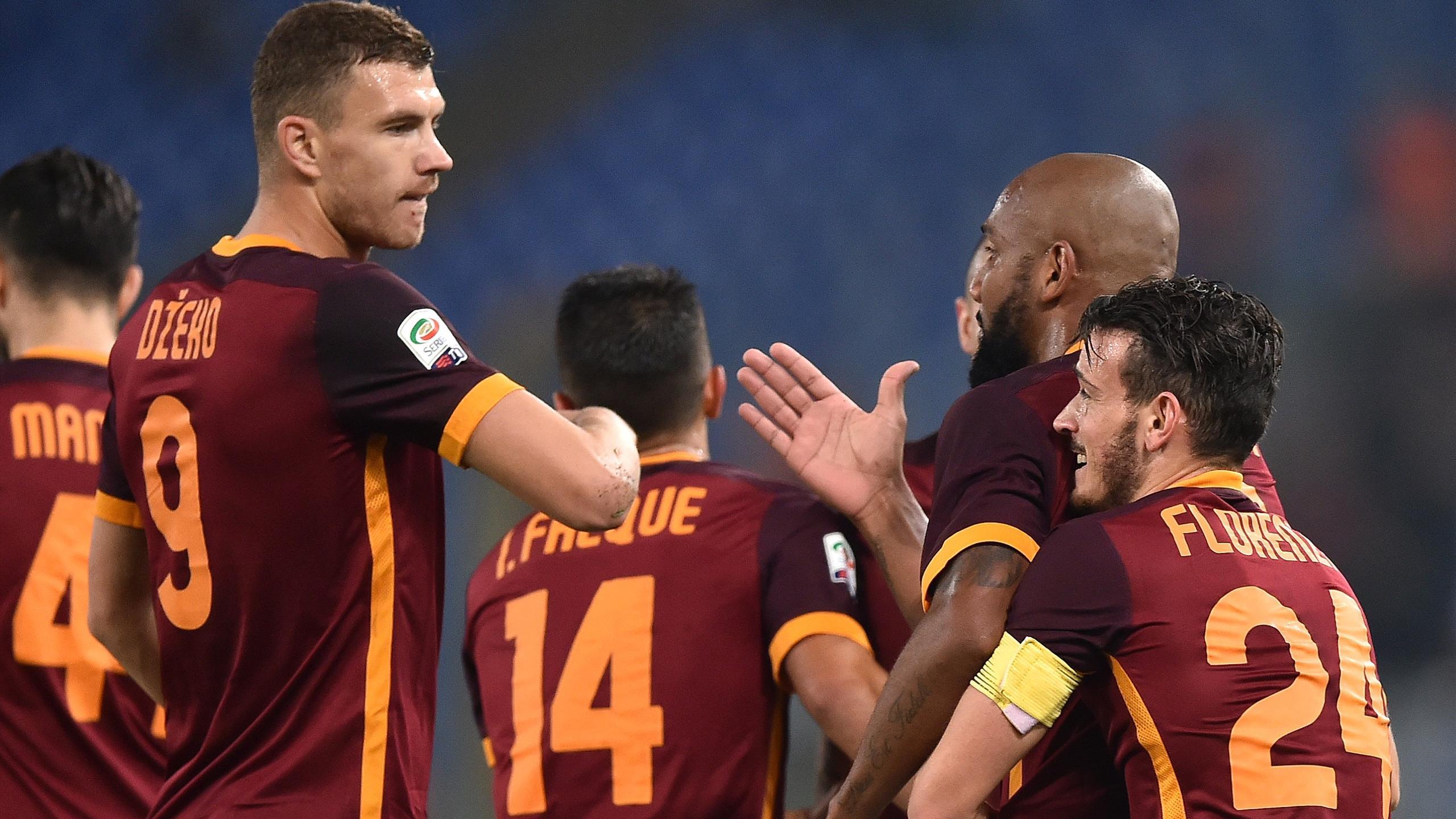 Edin Dzeko et Maicon lors de la victoire de l'AS Rome sur l'Udinese