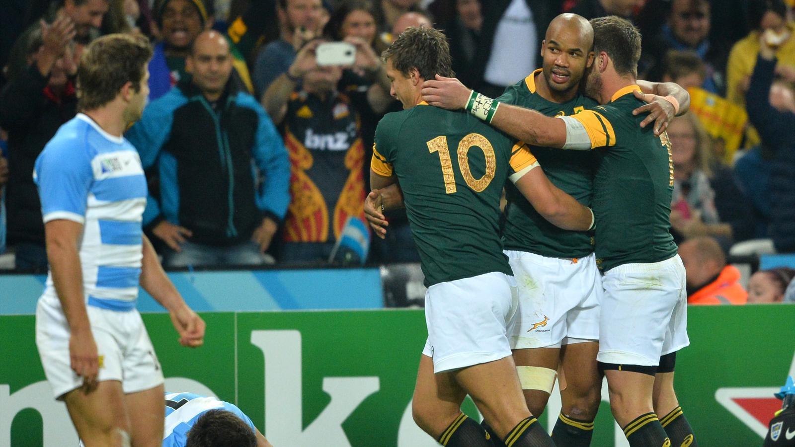La joie de JP Pietersen (Afrique du Sud) après son essai contre l'Argentine - 30 octobre 2015