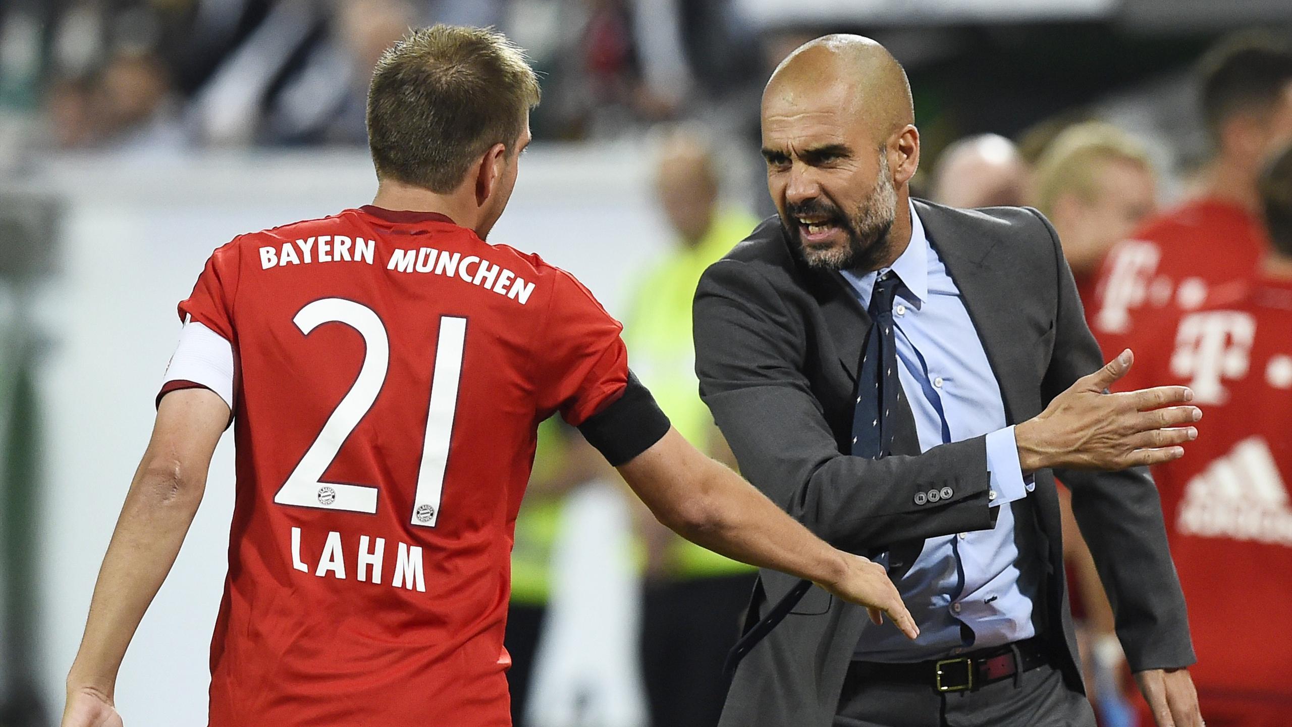 Philipp Lahm et Pep Guardiola (Bayern Munich)
