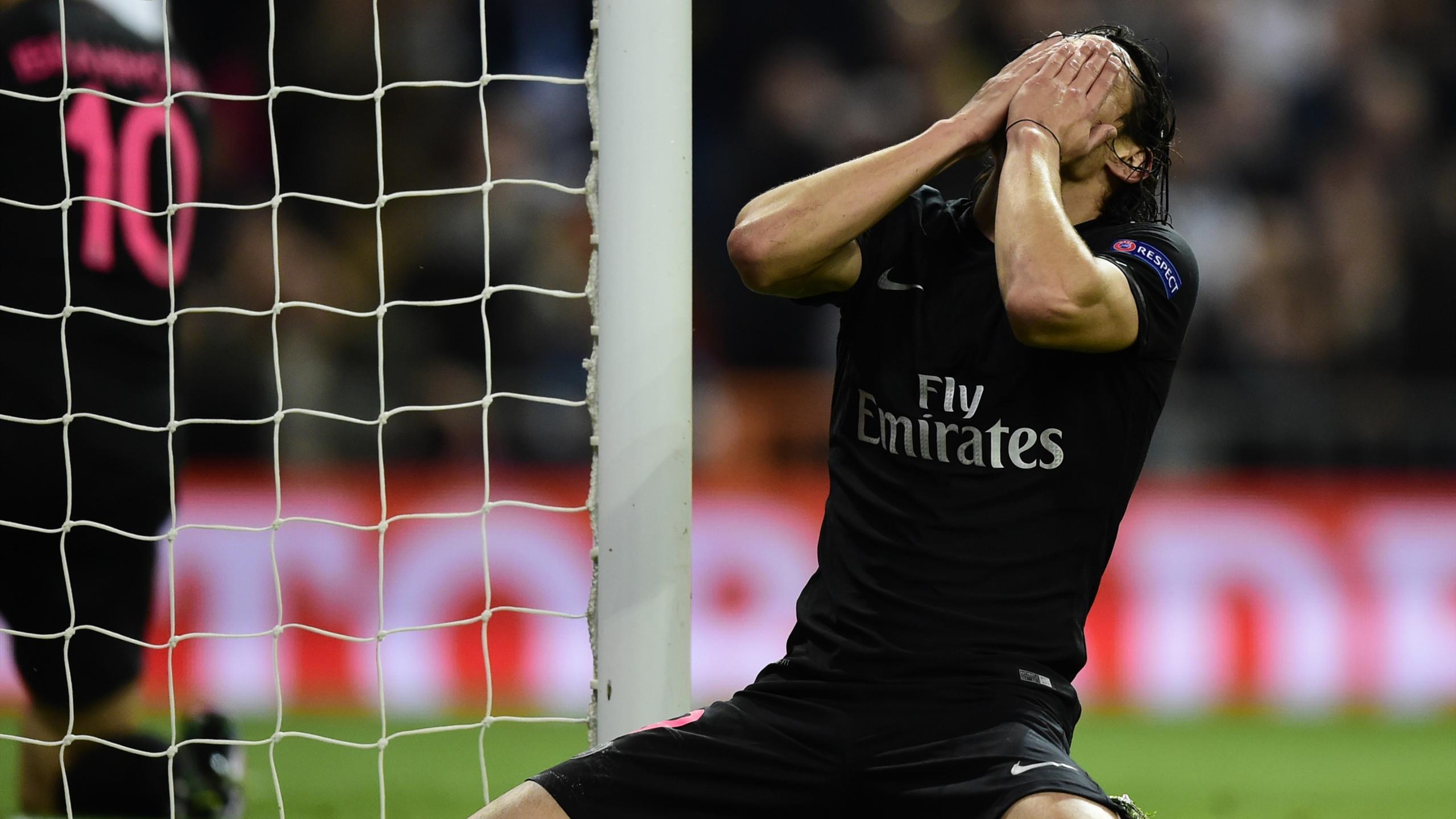 Edinson Cavani (PSG), auteur de deux ratés face au Real Madrid