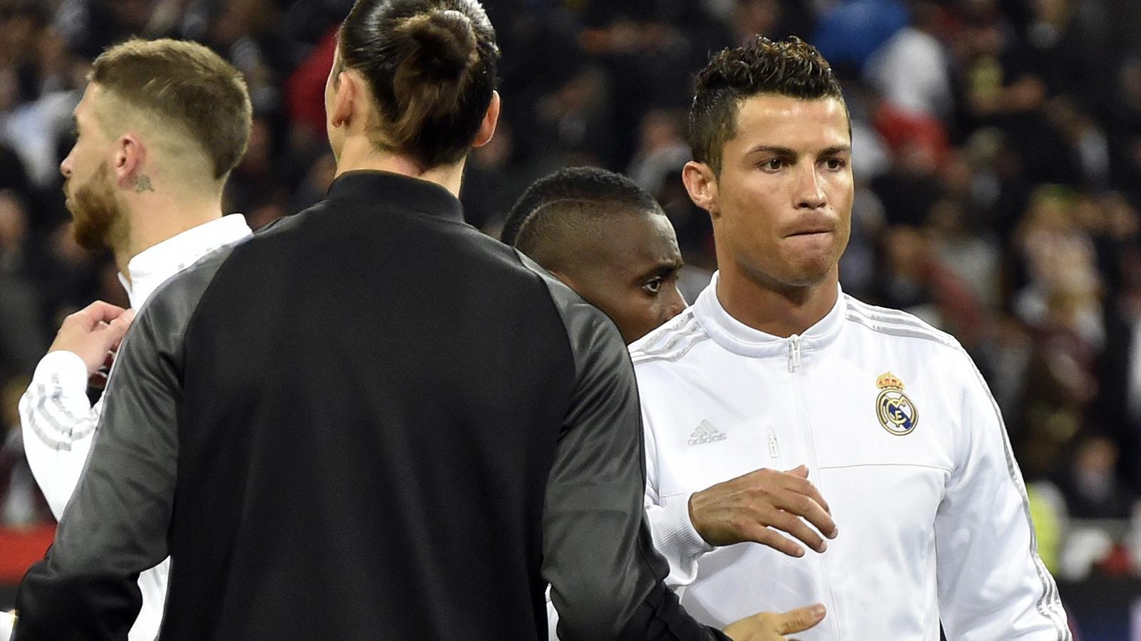 Cristiano Ronaldo greets Zlatan Ibrahimovic