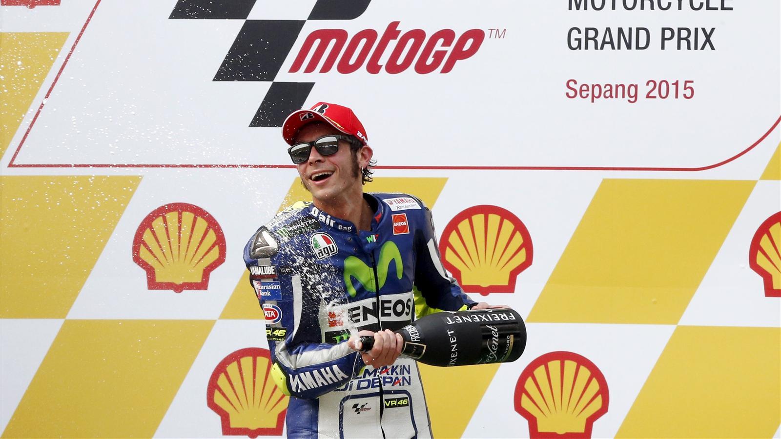 Valentino Rossi on the podium in Malaysia