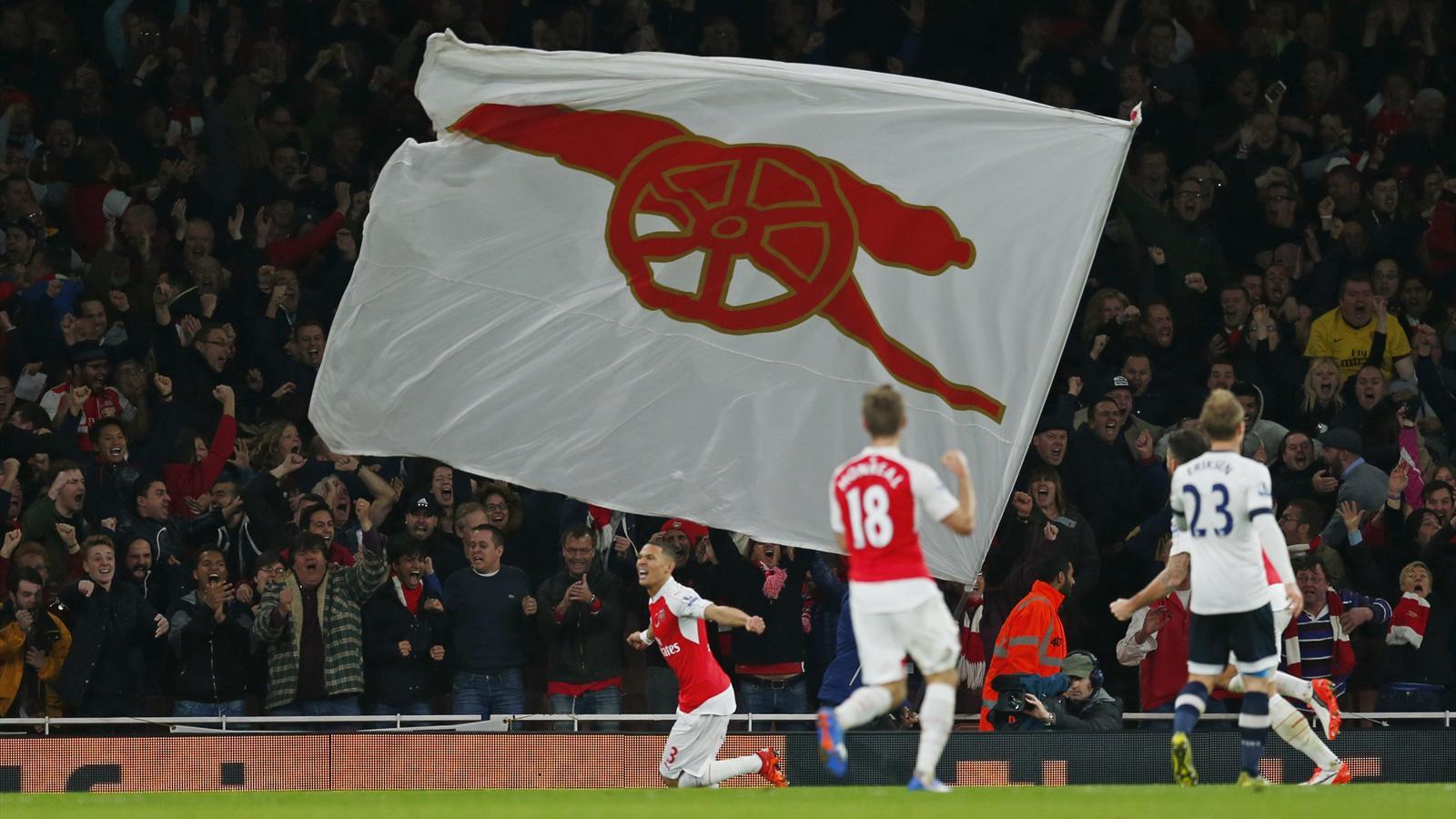 Arsenal's Kieran Gibbs celebrates scoring their first goal