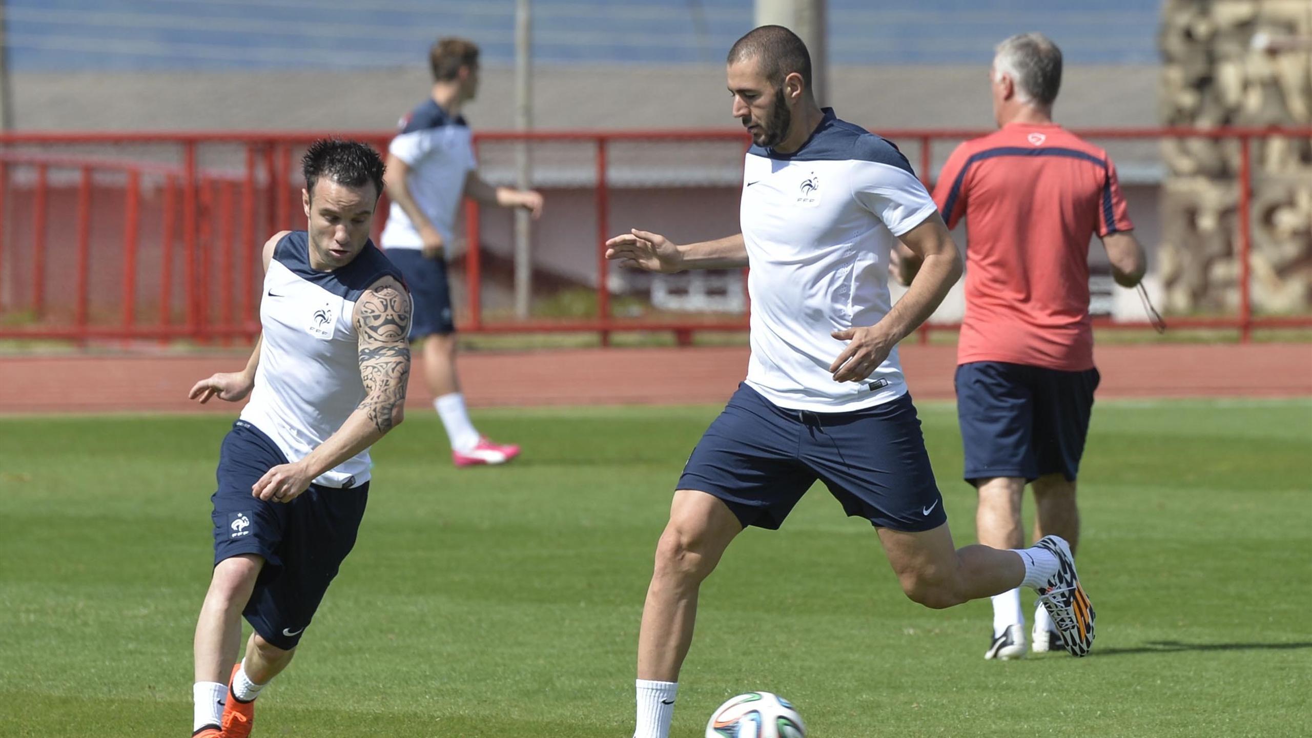 Valbuena et Benzema lors d'un entraînement de l'équipe de France