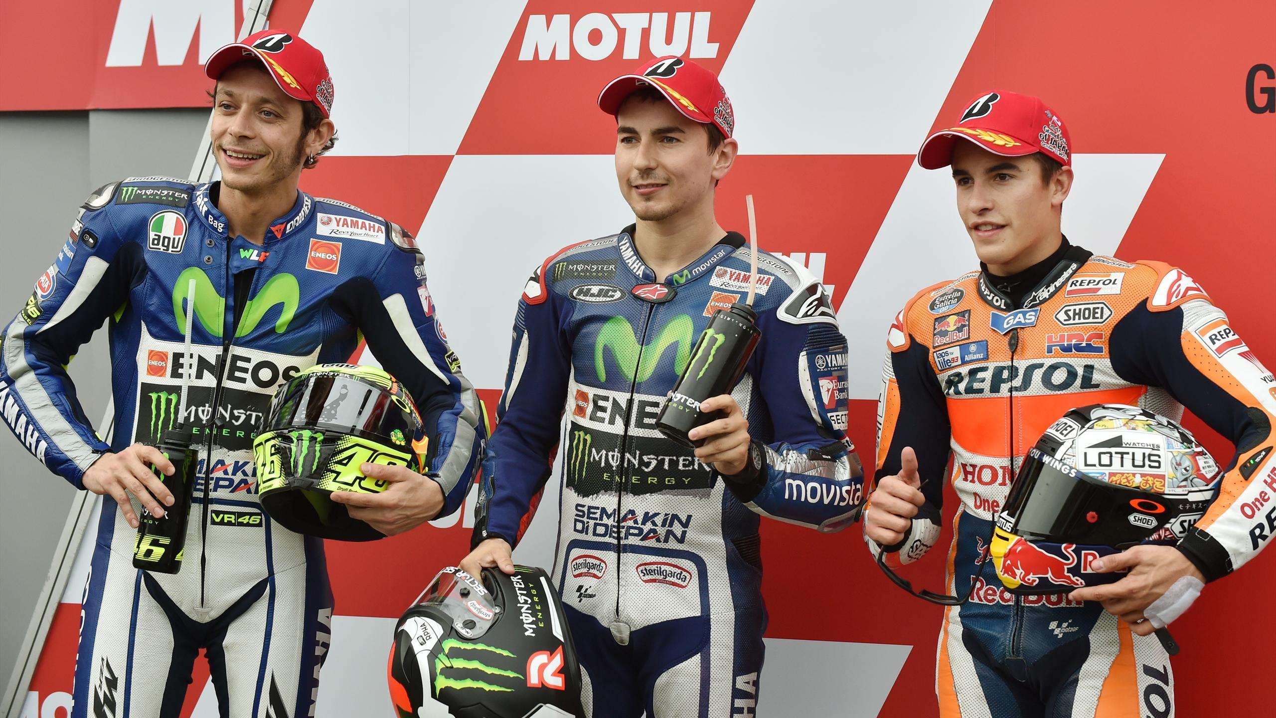 Valentino Rossi, Jorge Lorenzo, Marc Marquez, AFP