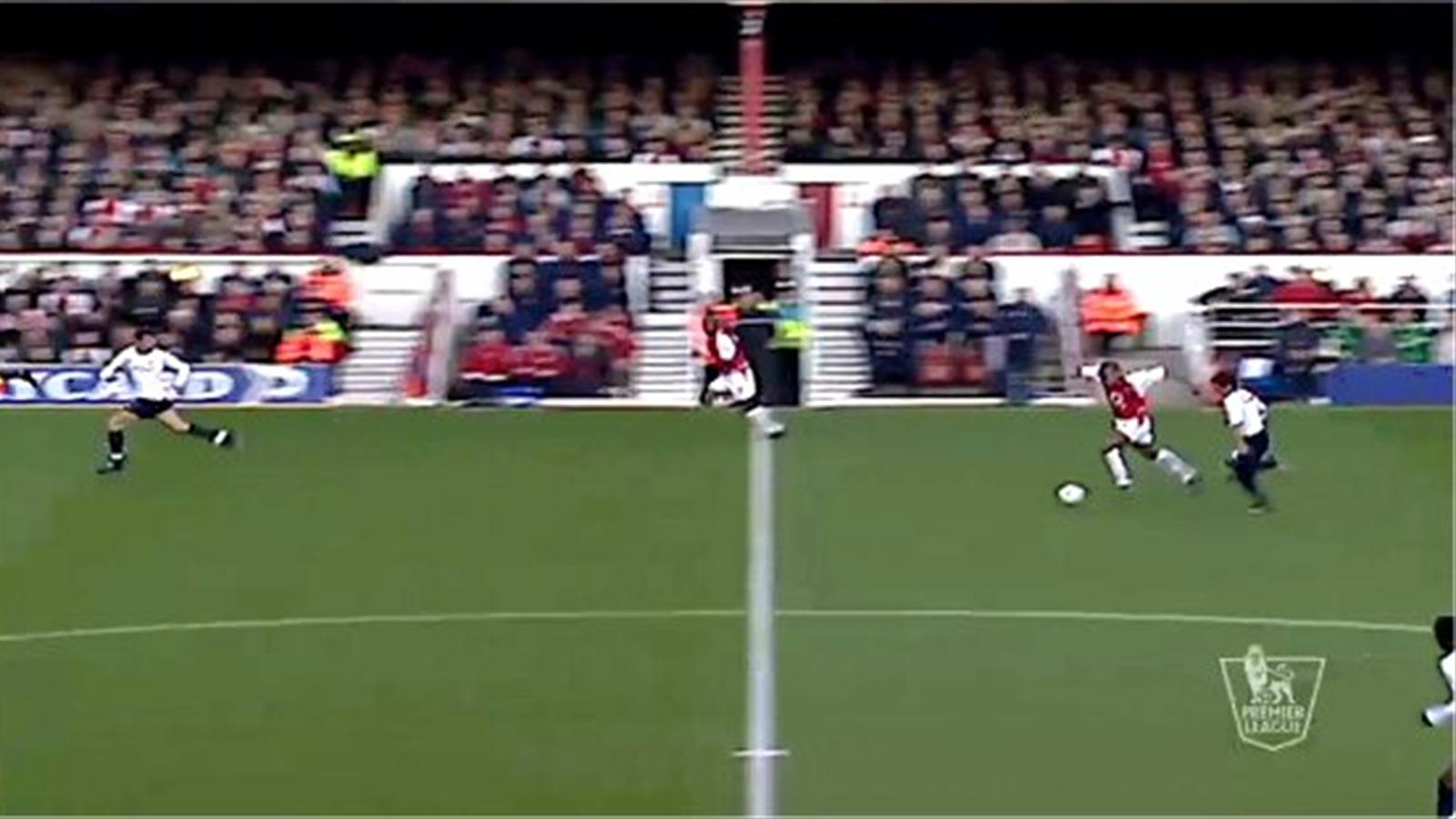 Thierry Henry's famous derby goal for Arsenal against Tottenham in 2002 (Premier League)