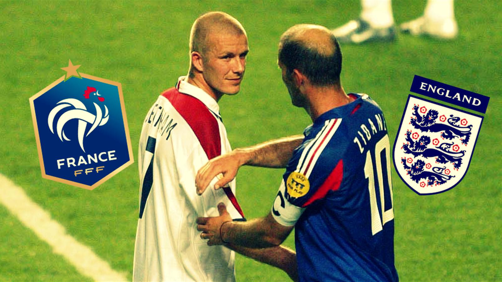 David Beckham et Zinédine Zidane, adversaires lors d'un mémorable France-Angleterre à l'Euro 2004.