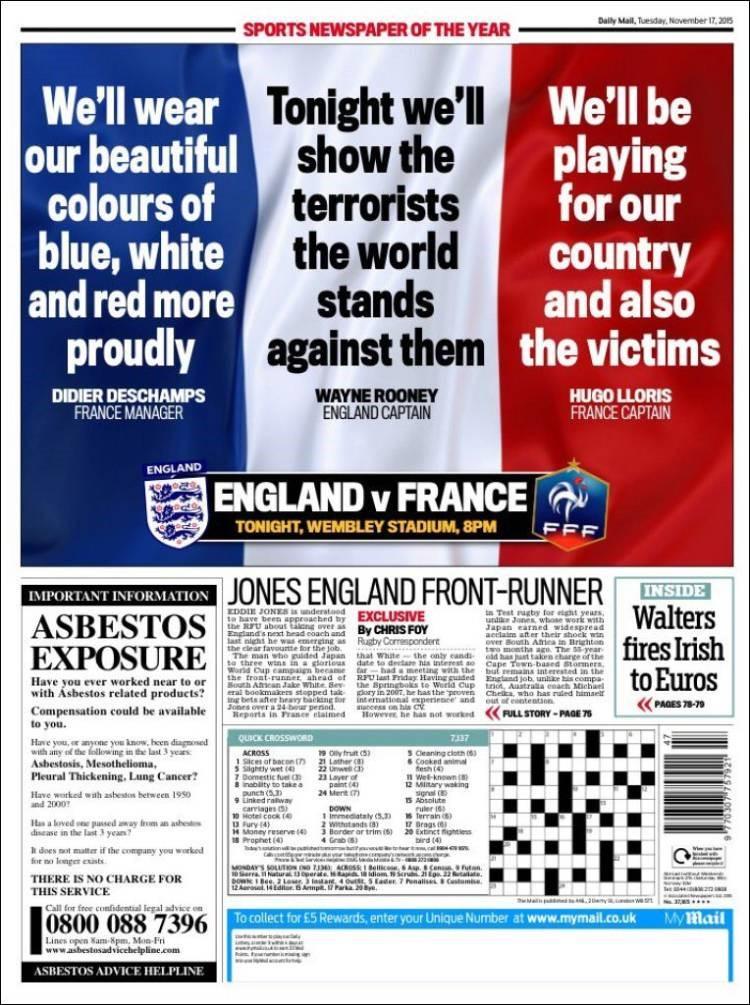 La une des pages sports du Daily Mail.