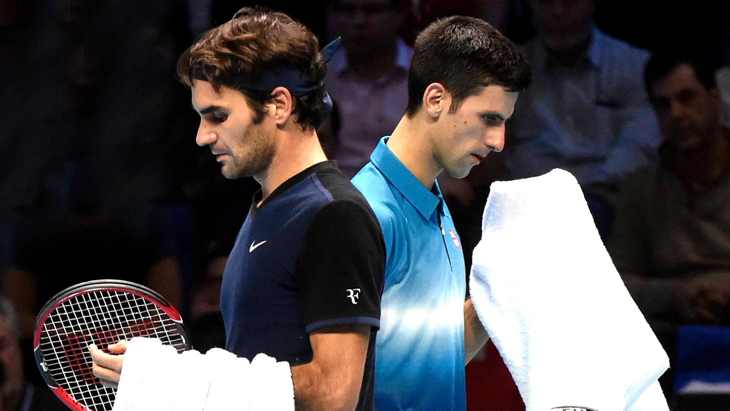 Gegner im Finale von London: Federer (li.) und Djokovic (re.)