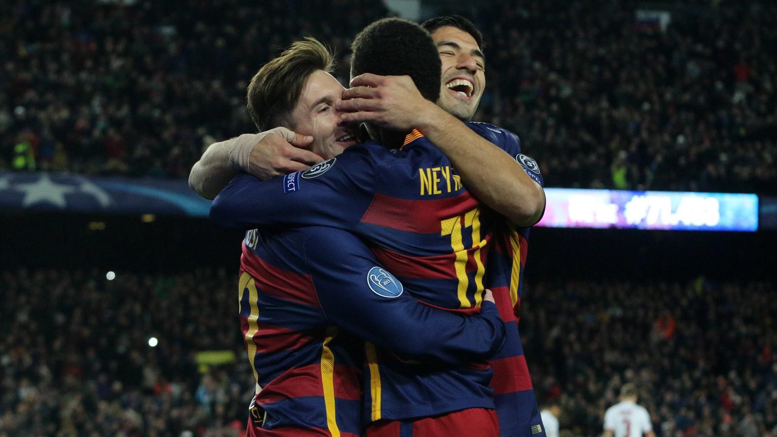 Messi, Neymar y Luis Suárez en el FC Barcelona-Roma
