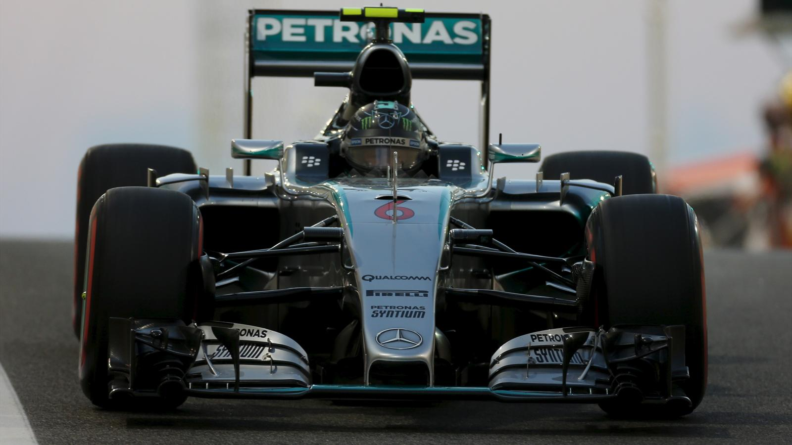 Mercedes Formula One driver Nico Rosberg of Germany leaves the pit lane during the third free practice session of Abu Dhabi F1 Grand Prix at the Yas Marina circuit