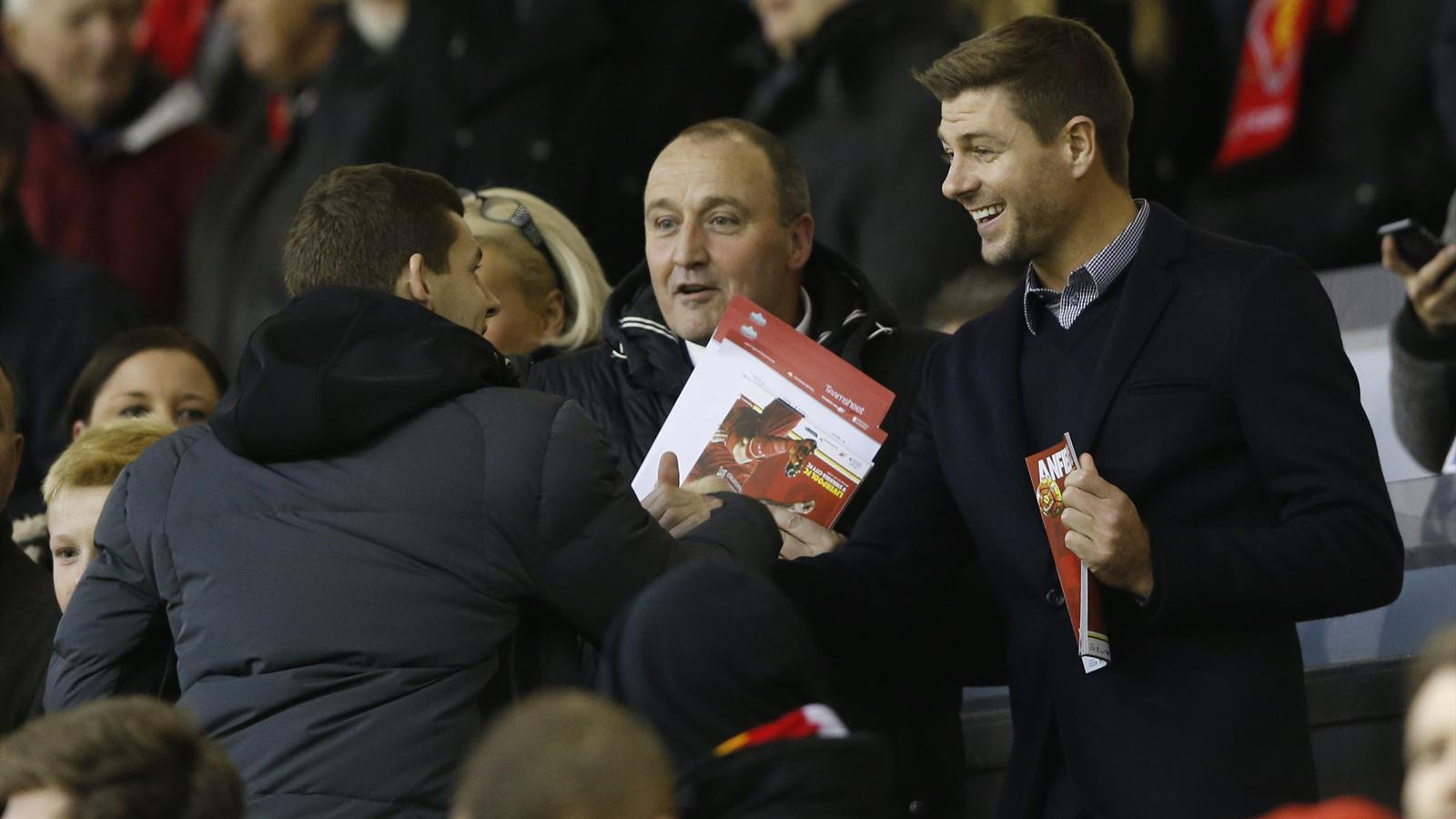 Steven Gerrard, back at Anfield to watch Liverpool face Swansea
