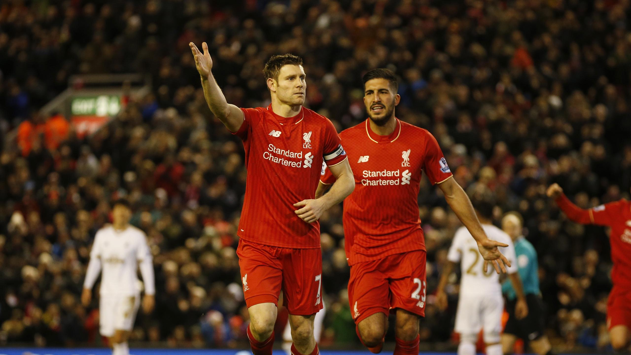 James Milner celebrates his Liverpool goal