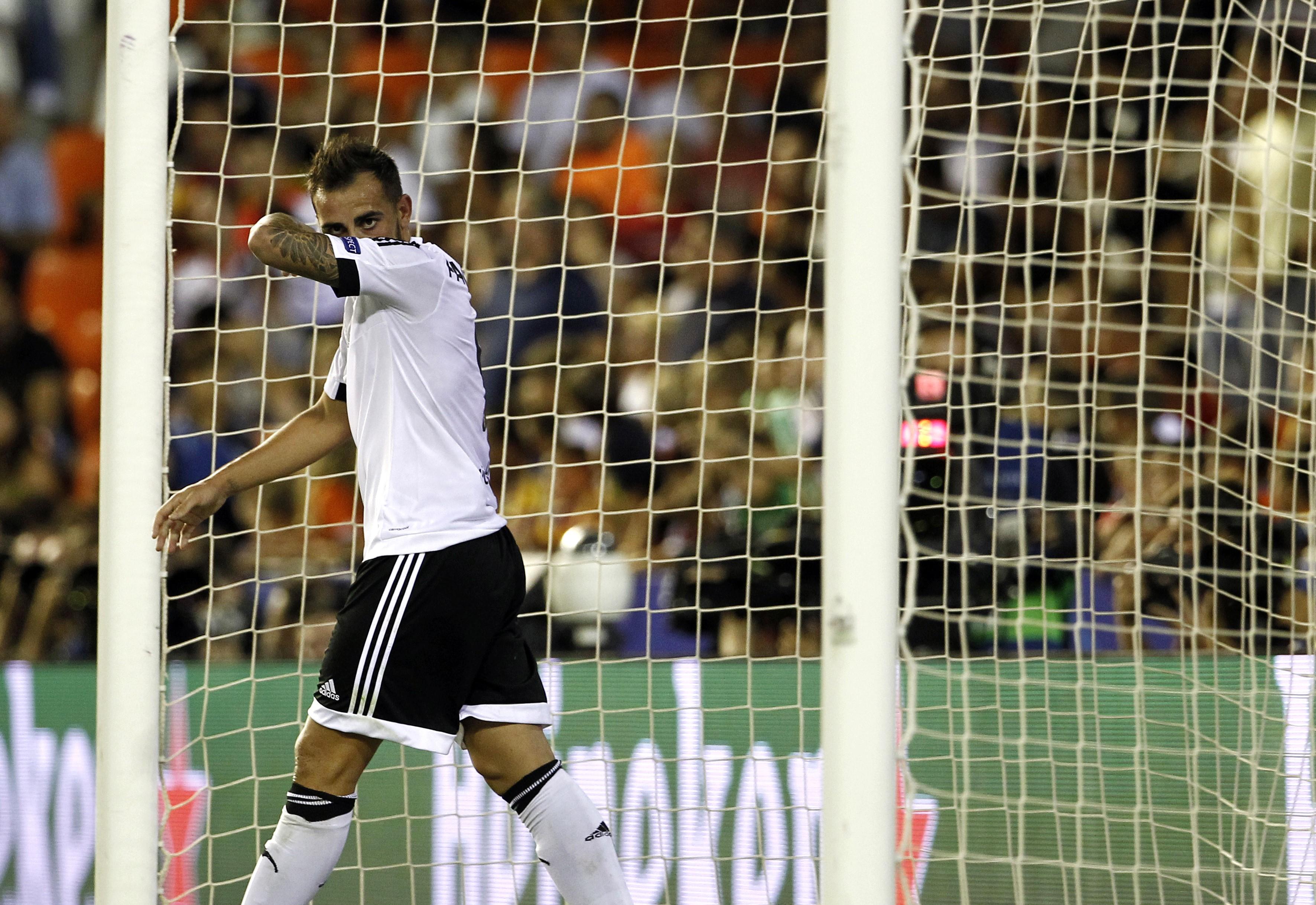 Valencia's forward Paco Alcacer gestures