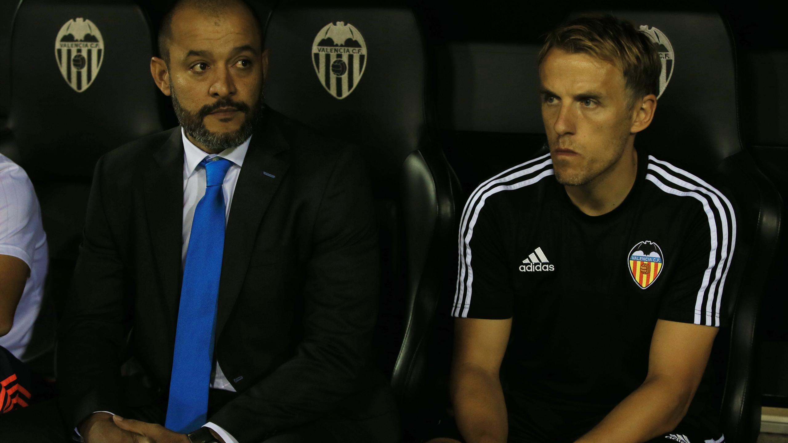 Valencia's Nuno Espirito Santo and Phil Neville