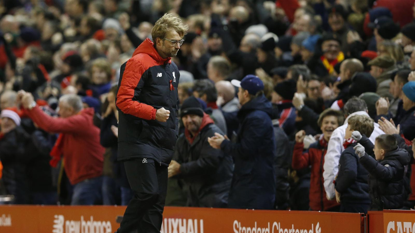 Liverpool manager Jurgen Klopp reacts as James Milner scores the first goal for Liverpool from the penalty spot