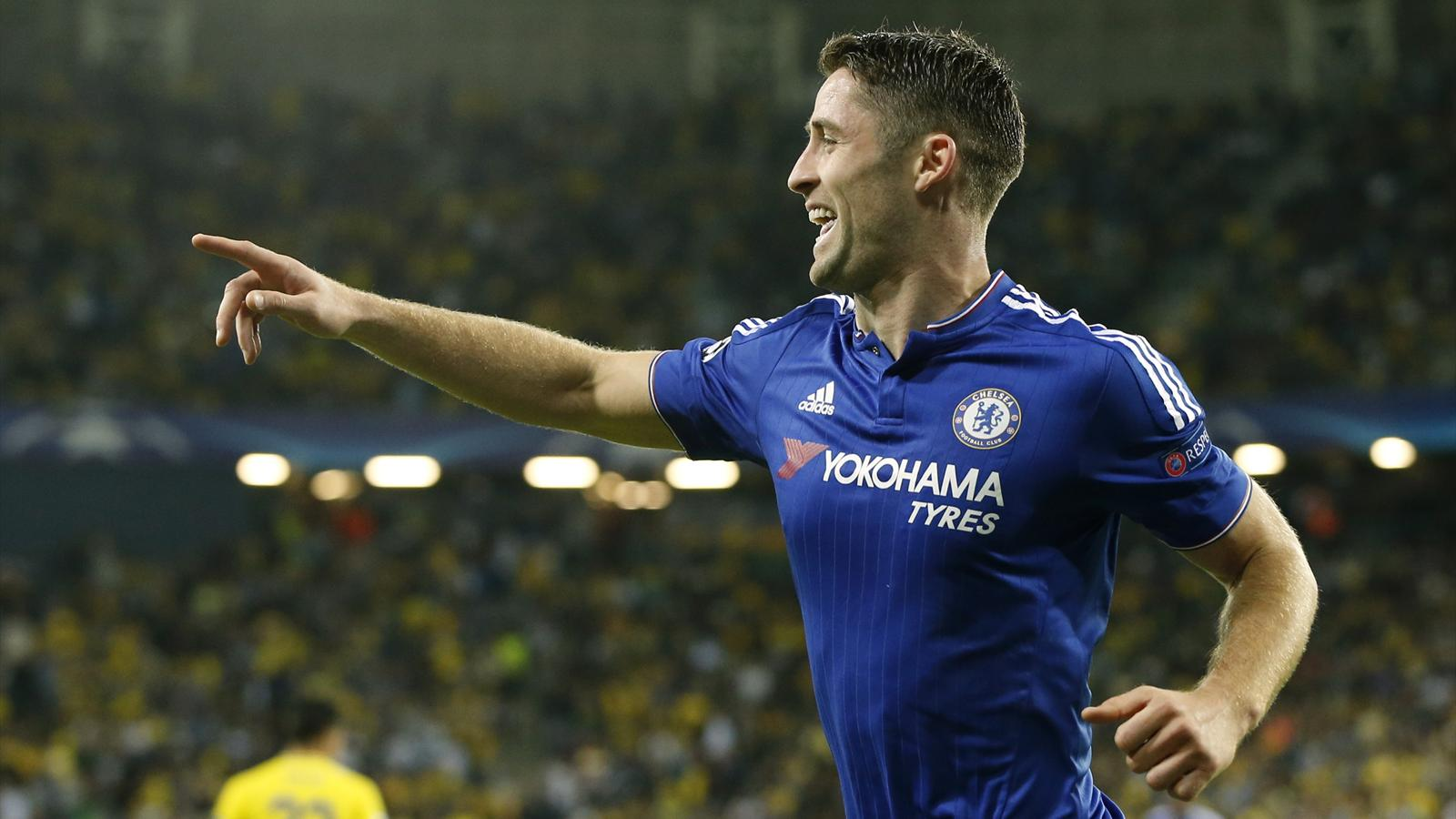 Gary Cahill celebrates after scoring for Chelsea