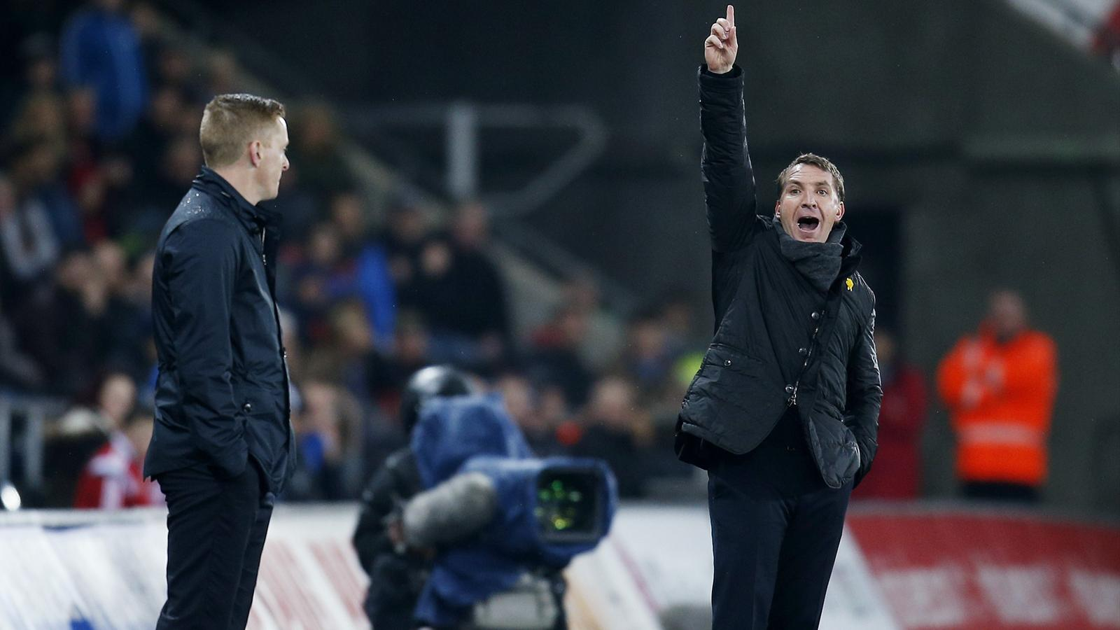 Swansea City boss Garry Monk and Brendan Rodgers while at Liverpool