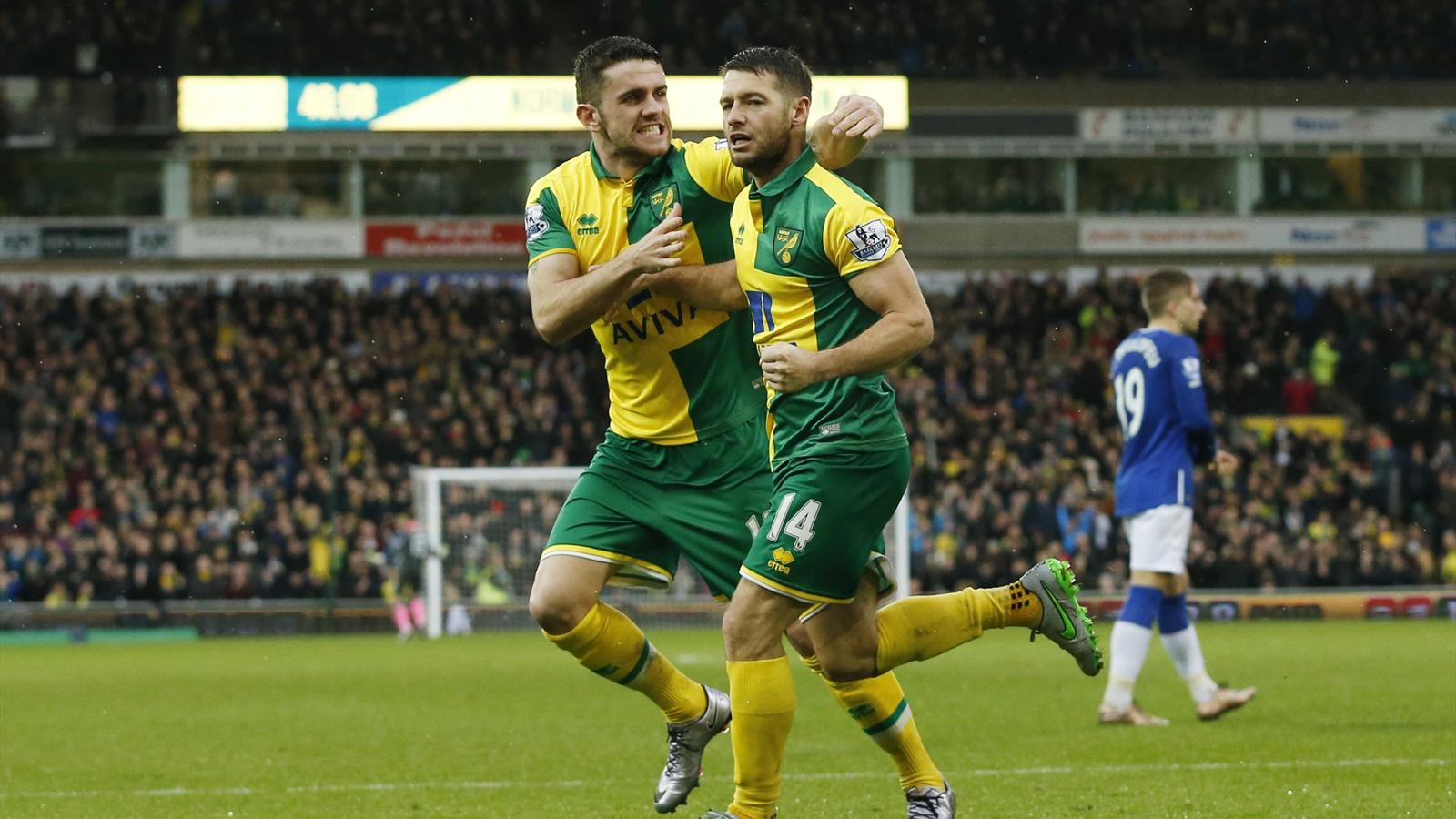 Robbie Brady and Wes Hoolahan celebrate Norwich's equaliser against Everton