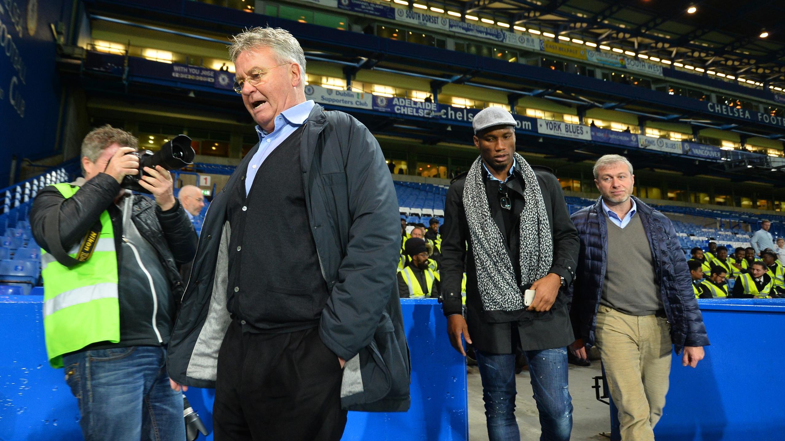Guus Hiddink, Didier Drogba and Roman Abramovich at Stamford Bridge