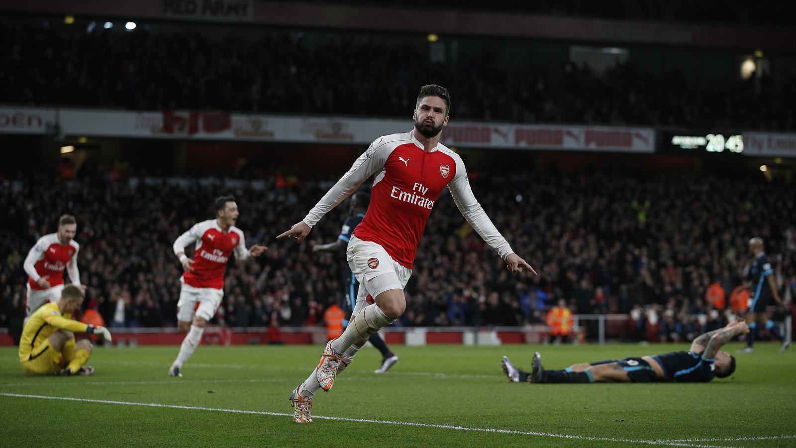 Oliveir Giroud (Arsenal) celebrates his goal v Manchester City