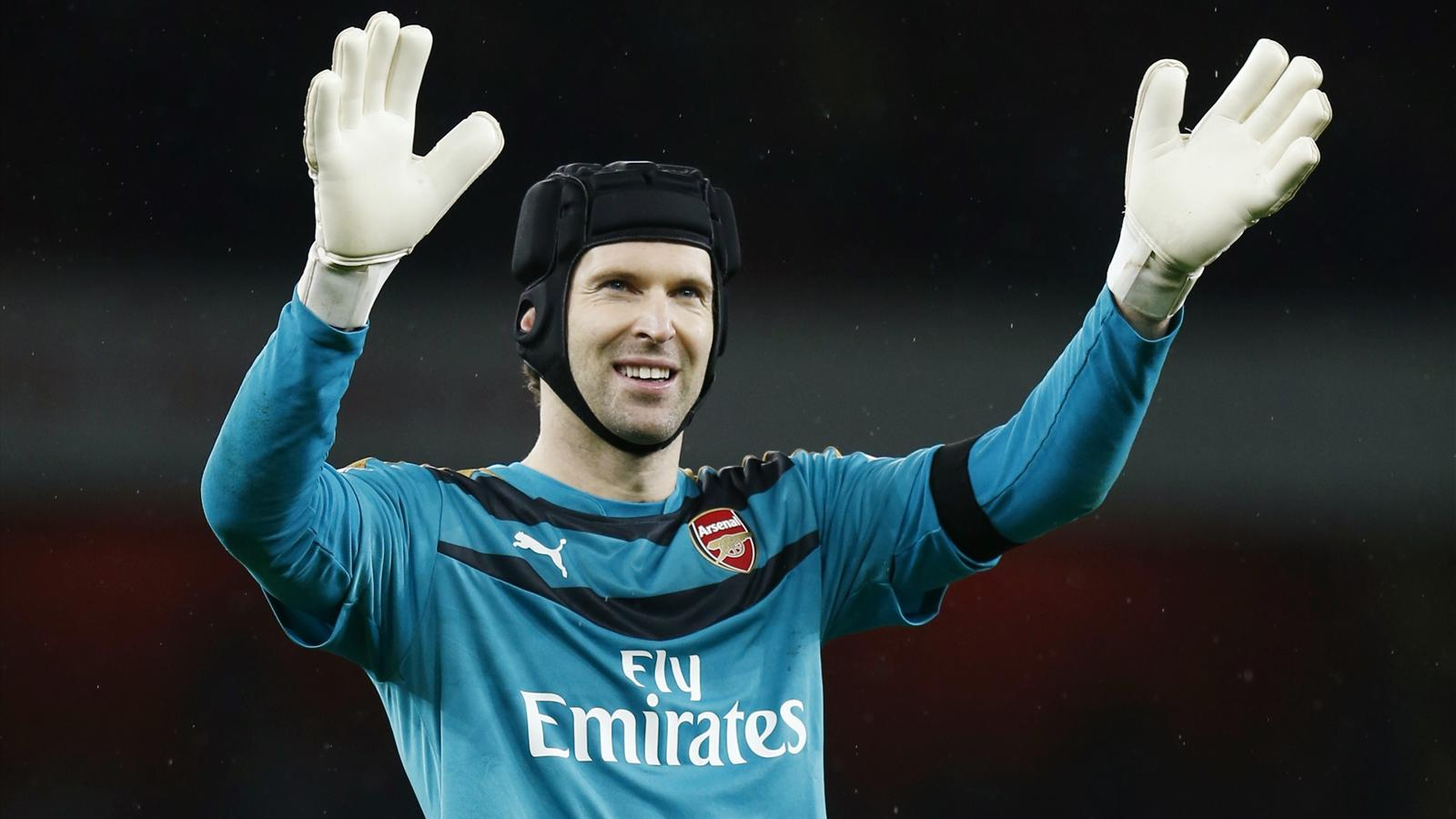 Petr Cech celebrates Arsenal's 1-0 win over Newcastle