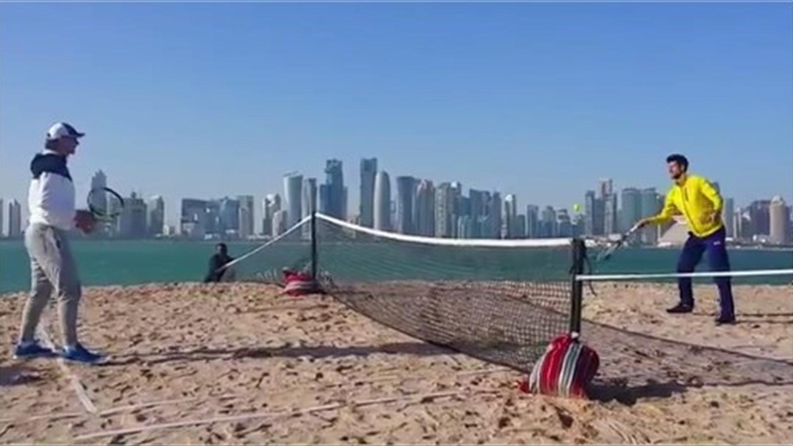 Novak Djokovic and Rafael Nadal playing beach tennis ahead of the Qatar Open (Twitter)