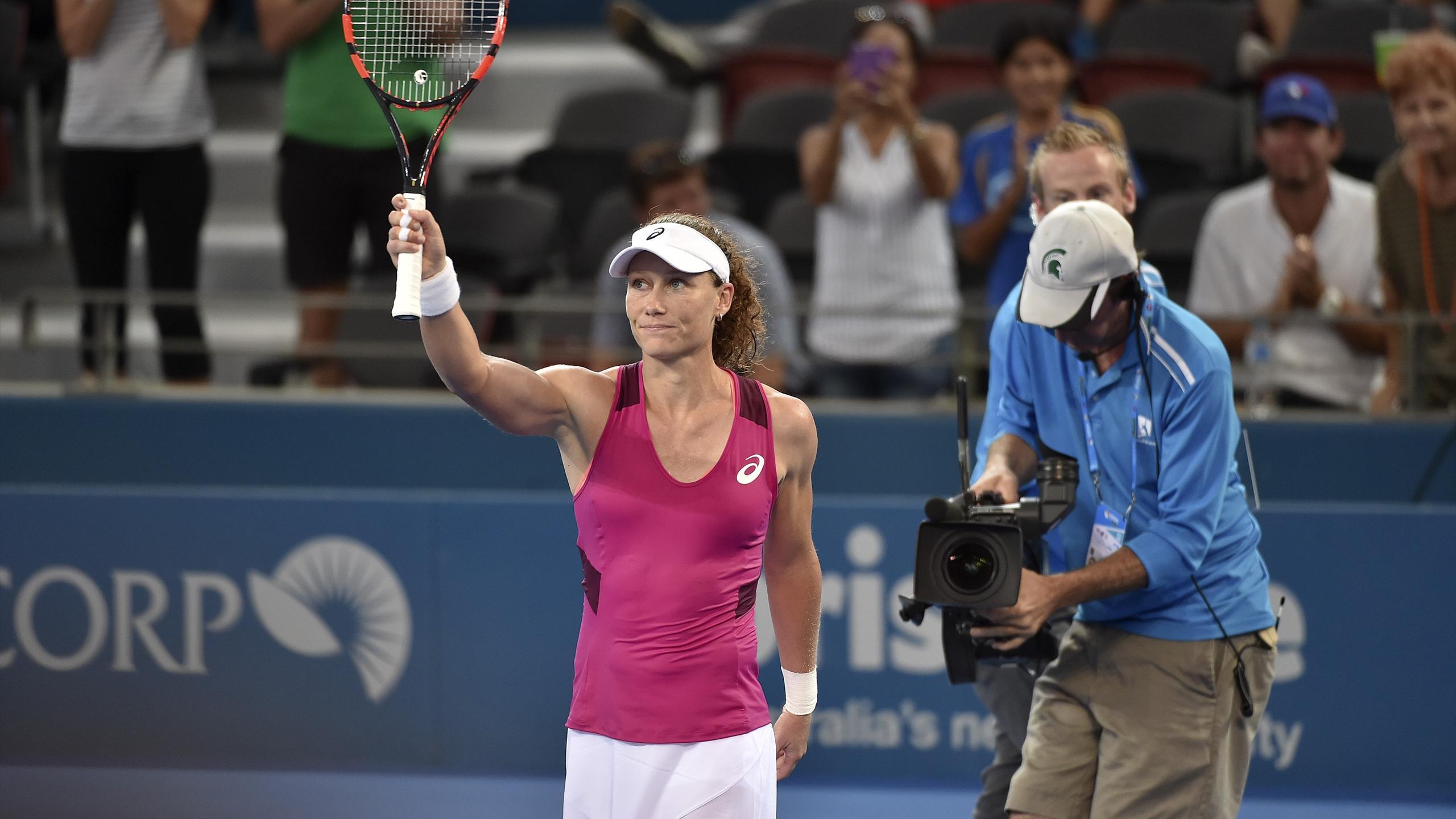 Australia's Samantha Stosur celebrates her victory against Slovakia's Jana Cepelova