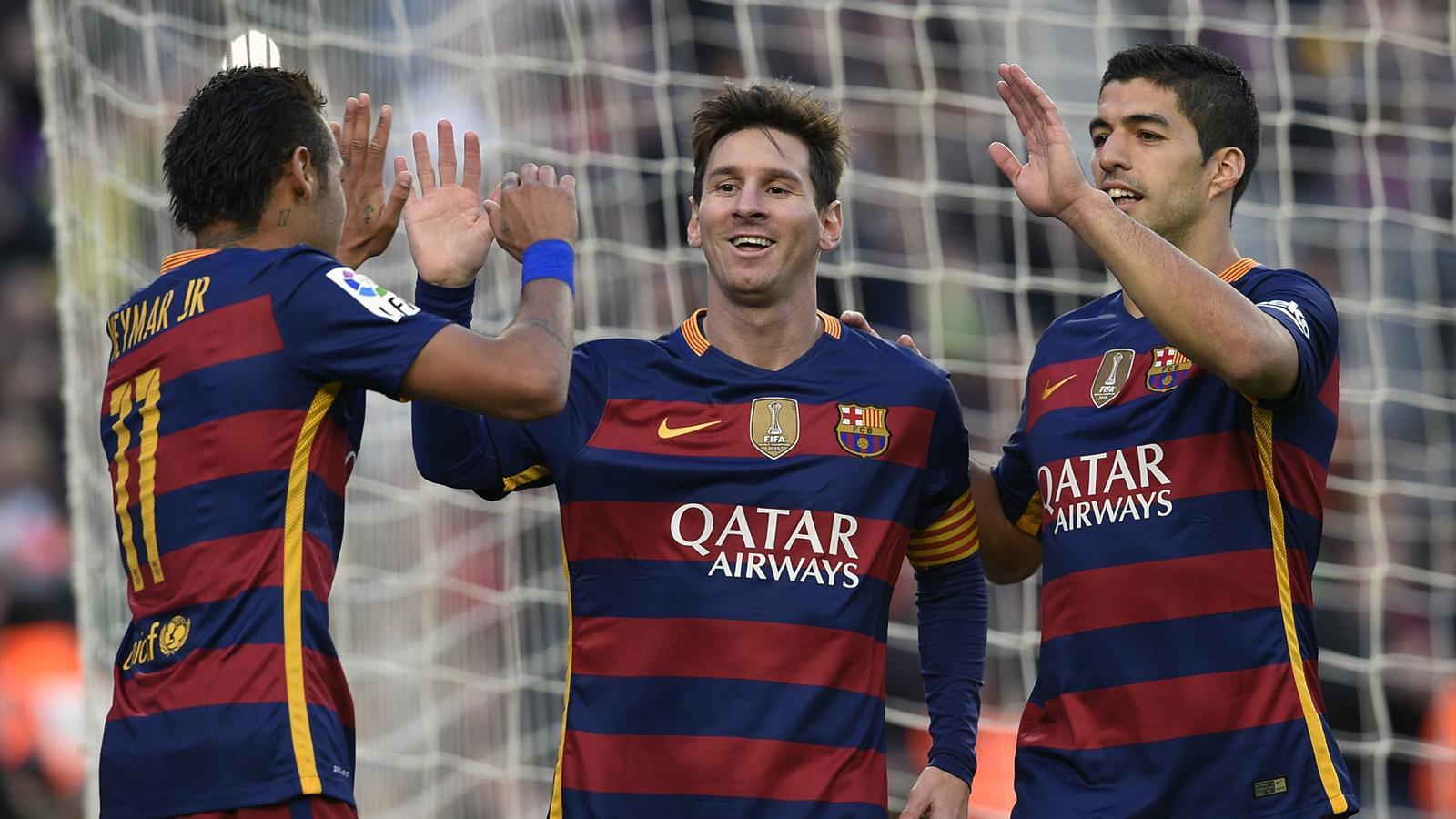 Neymar, Lionel Messi and Luis Suarez celebrate Barcelona scoring against Granada