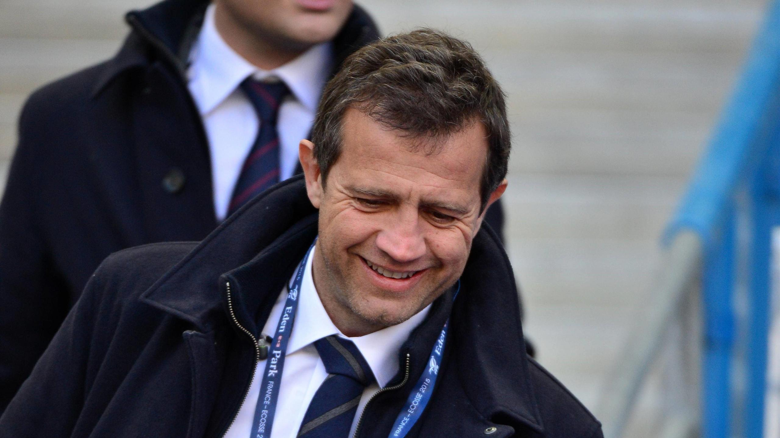 Fabien Galthié dans les tribunes avant France-Ecosse - 7 février 2015