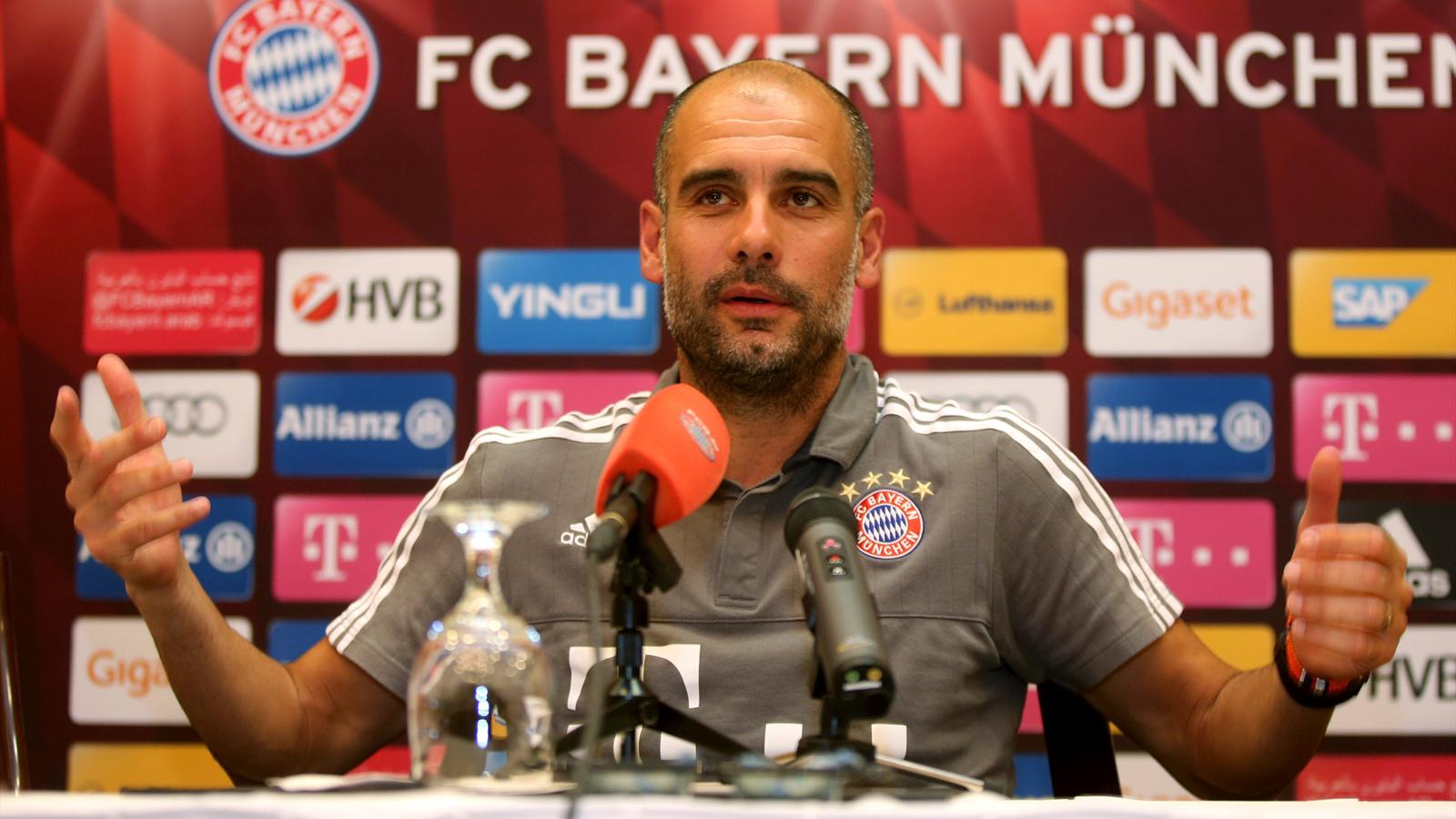 Bayern Munich's Spanish head coach Pep Guardiola speaks during a press conference