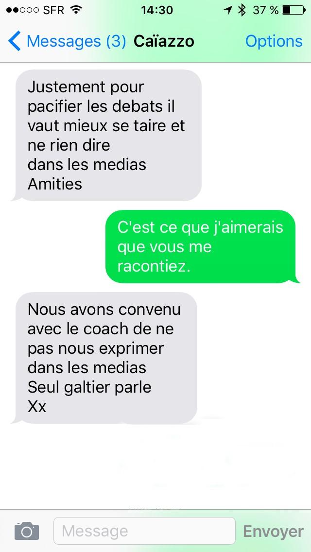 Echanges SMS avec Bernard Caïazzo