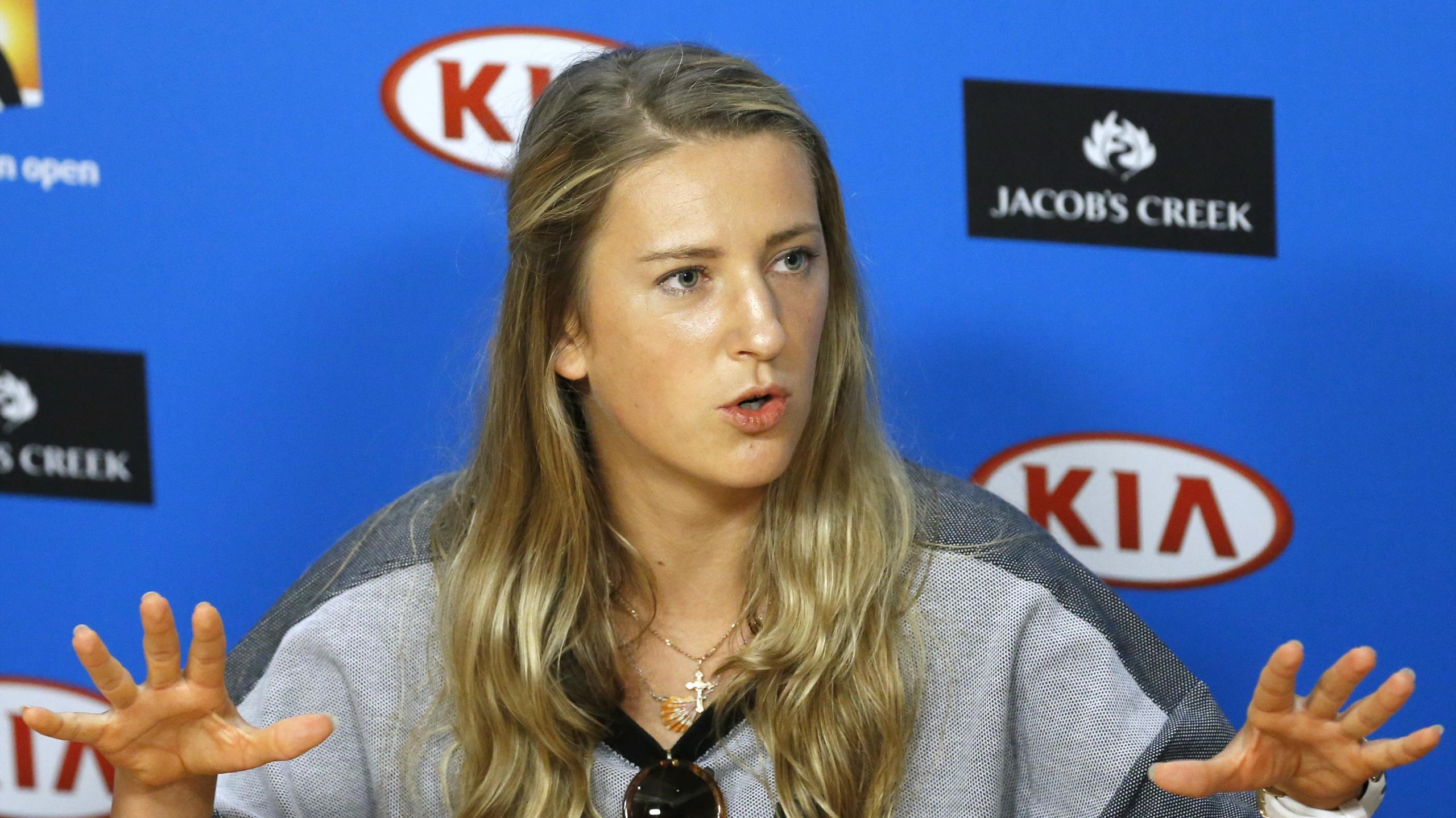 Belarus' Victoria Azarenka speaks during a news conference at Melbourne Park