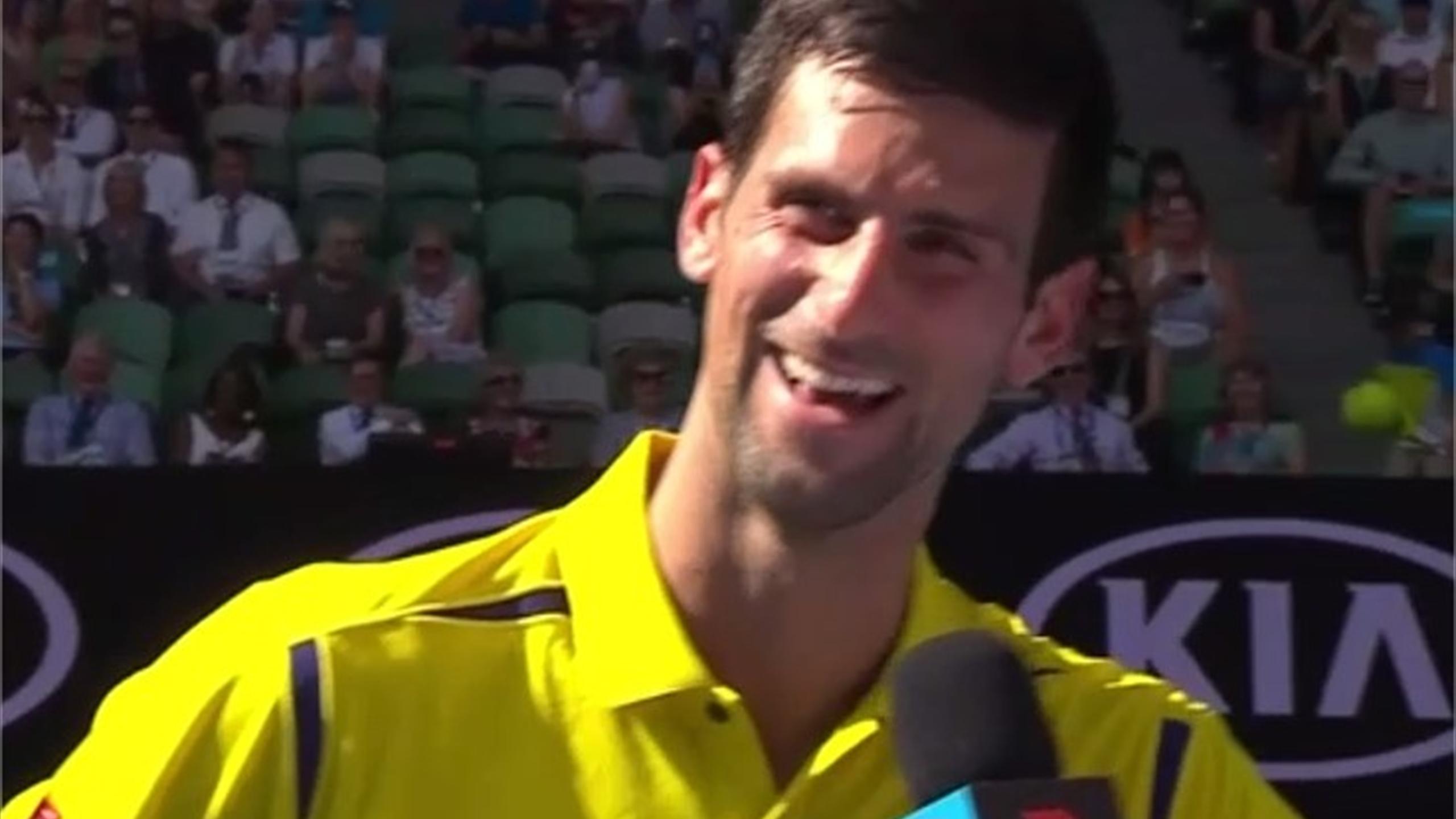 Novak Djokovic jokes after his first-round win at the Australian Open