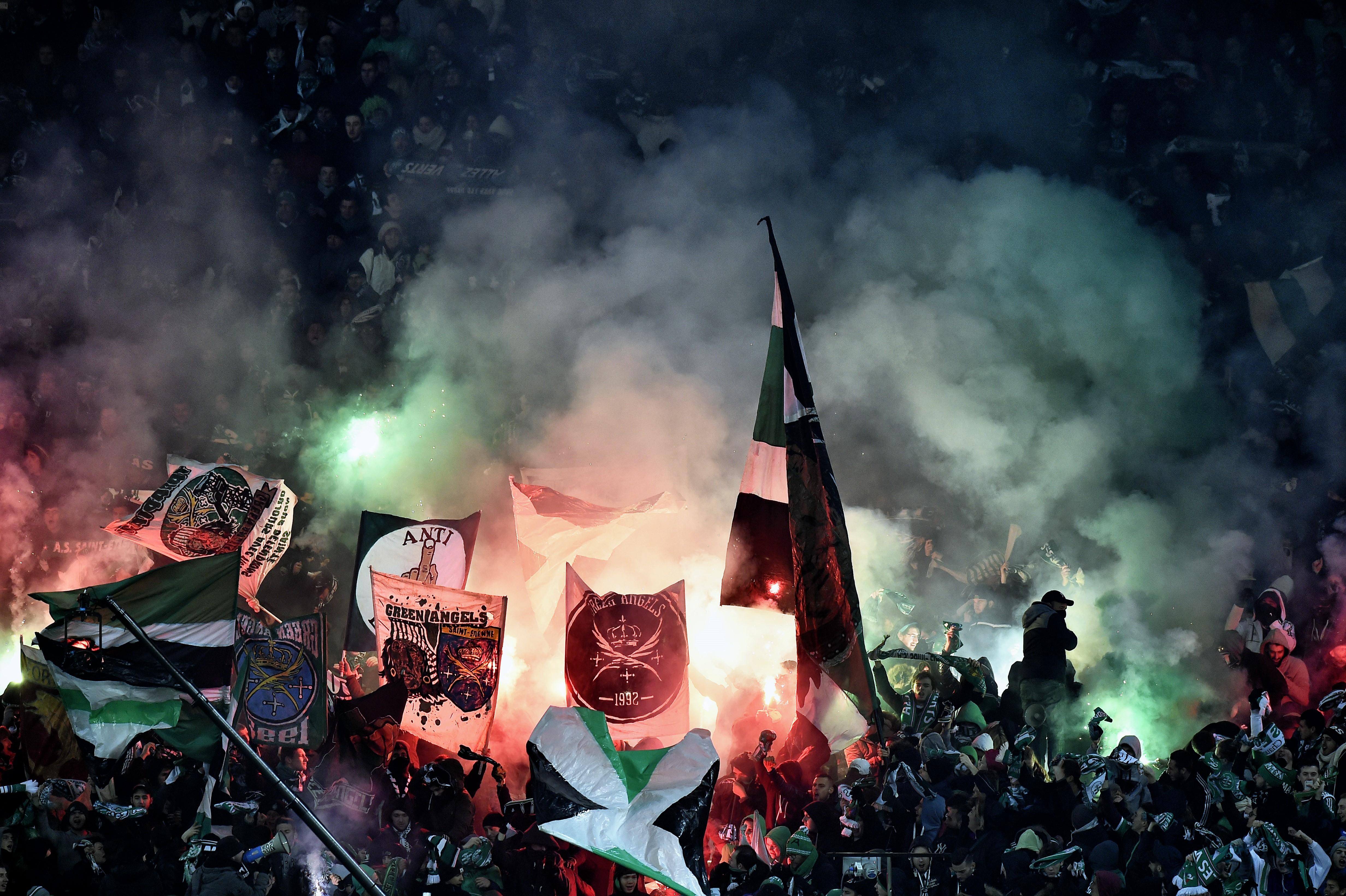 Les supports des Verts lors de Saint Etienne - Lyon en Ligue 1 le 17 janvier 2016