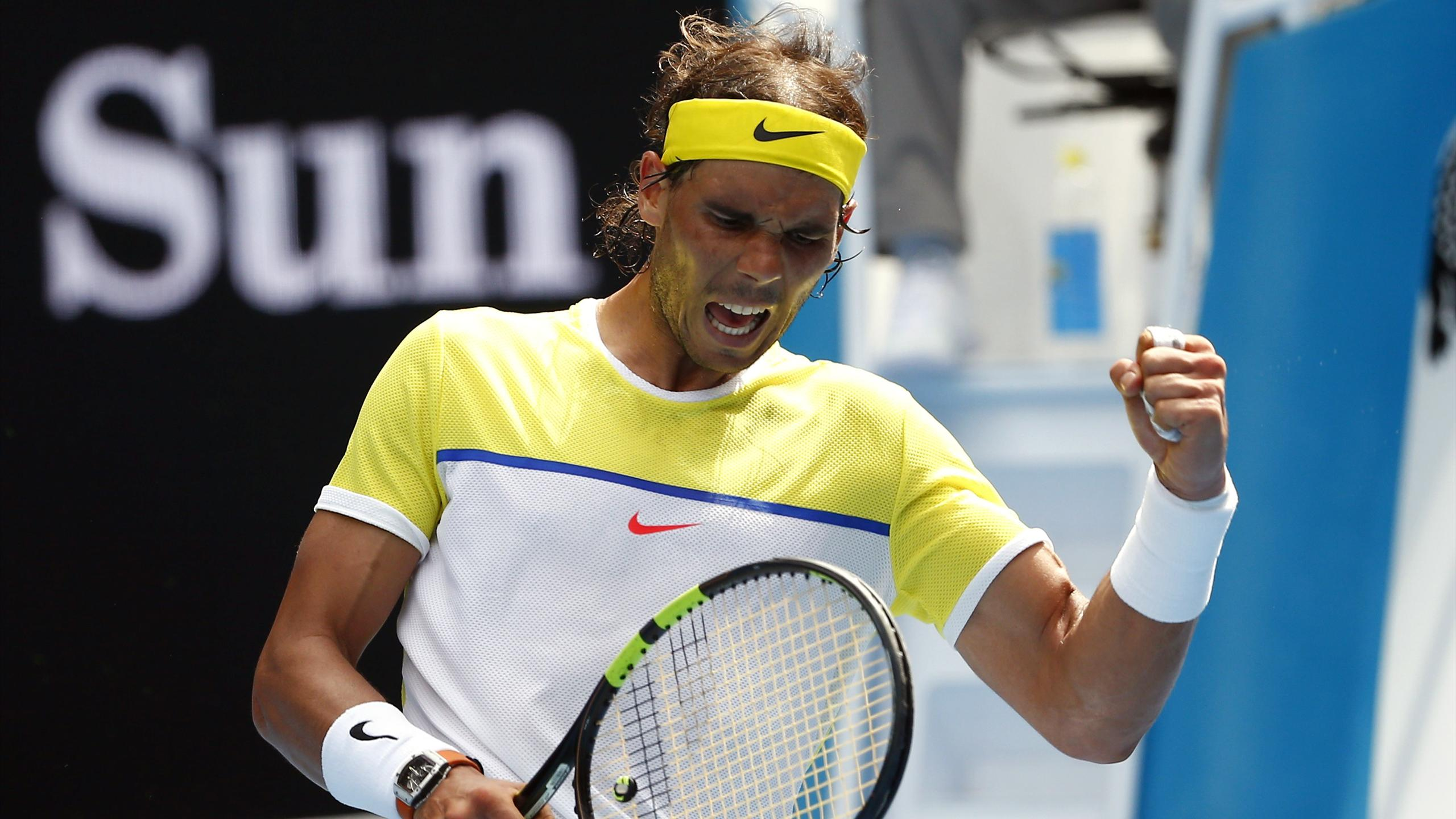 Spain's Rafael Nadal reacts during his first round match against Spain's Fernando Verdasco at the Australian Open tennis tournament at Melbourne Park