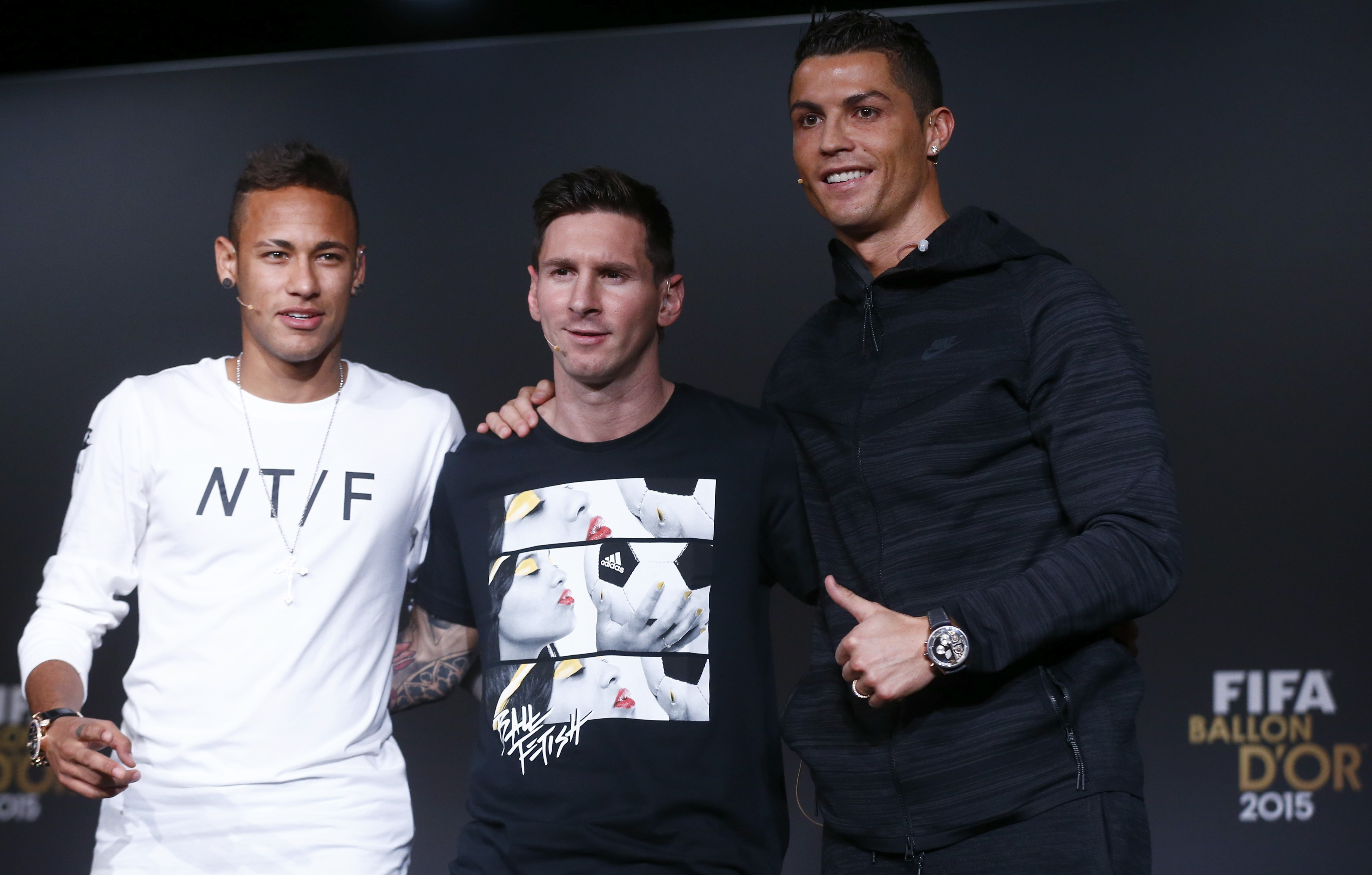 Neymar, Lionel Messi and Cristiano Ronaldo at the Ballon d'Or press conference