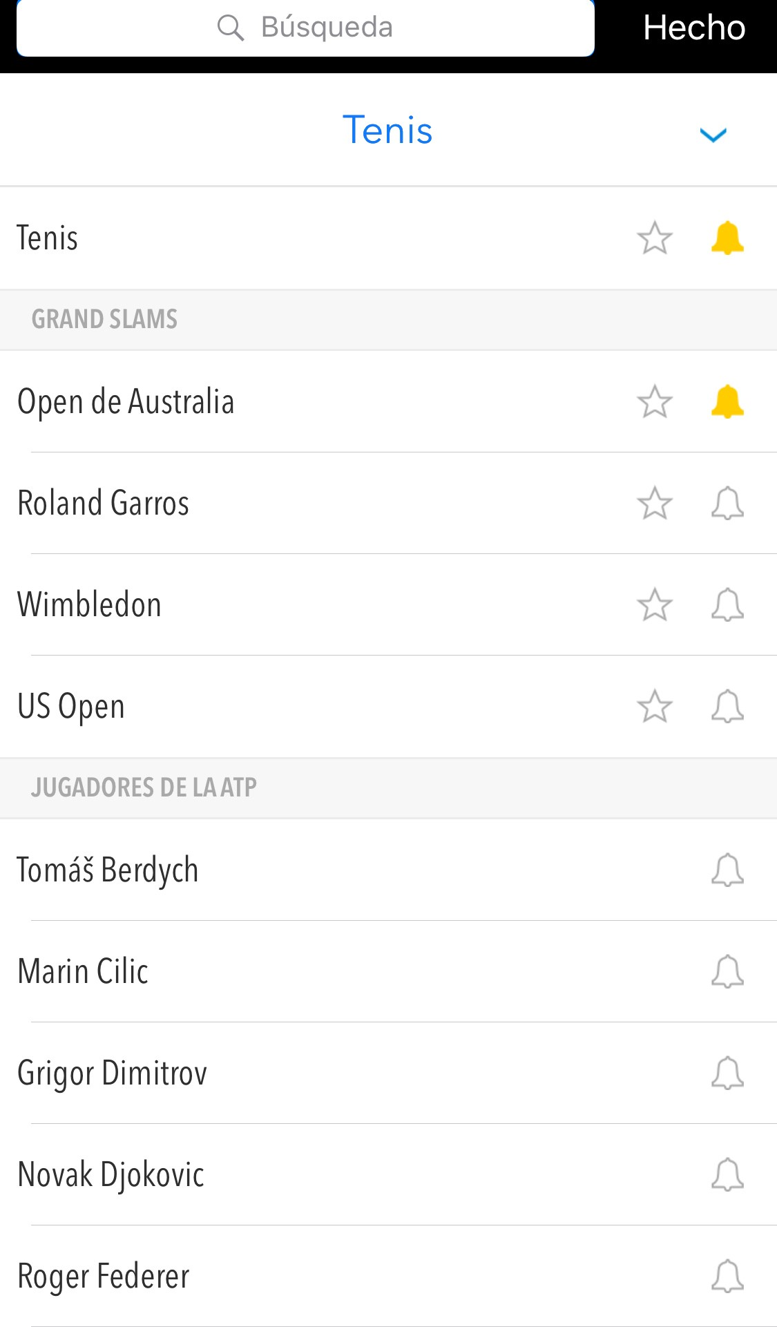 APP Tenis (español)