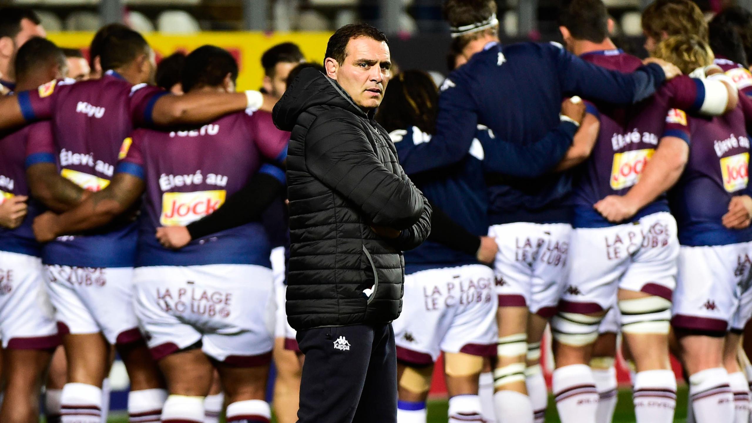 Raphaël Ibanez devant le groupe de Bordeaux-Bègles