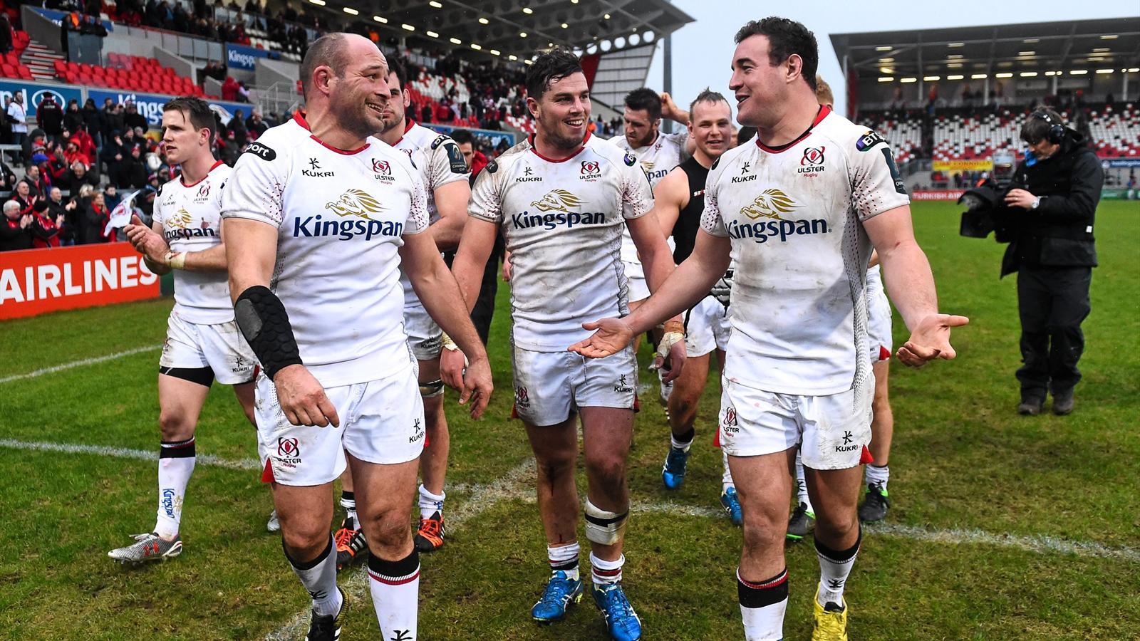 La joie des joueurs de l'Ulster, vainqueurs d'Oyonnax - 23 janvier 2016