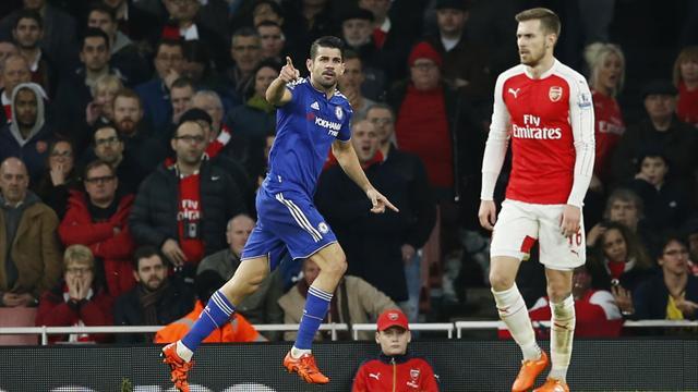 Costa winner dents title hopes of 10-man Arsenal