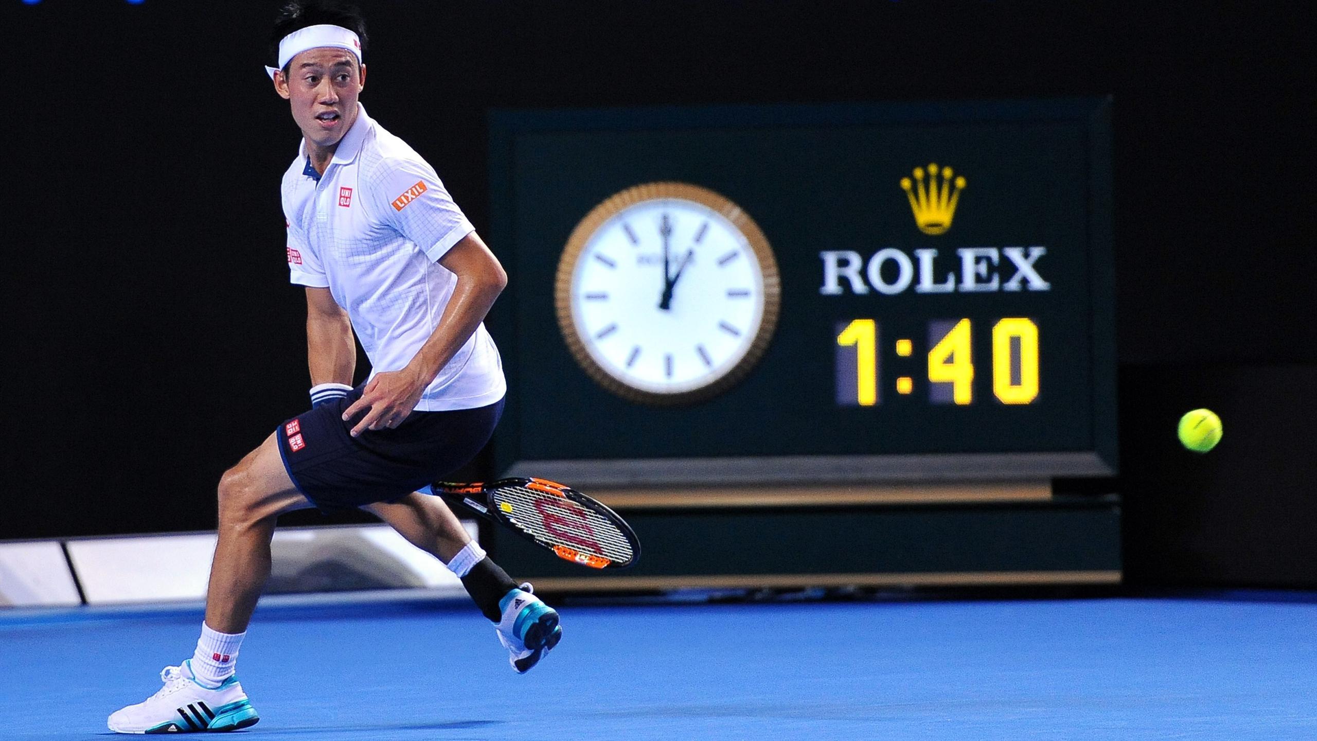 Kei Nishikori durant l'Open d'Australie